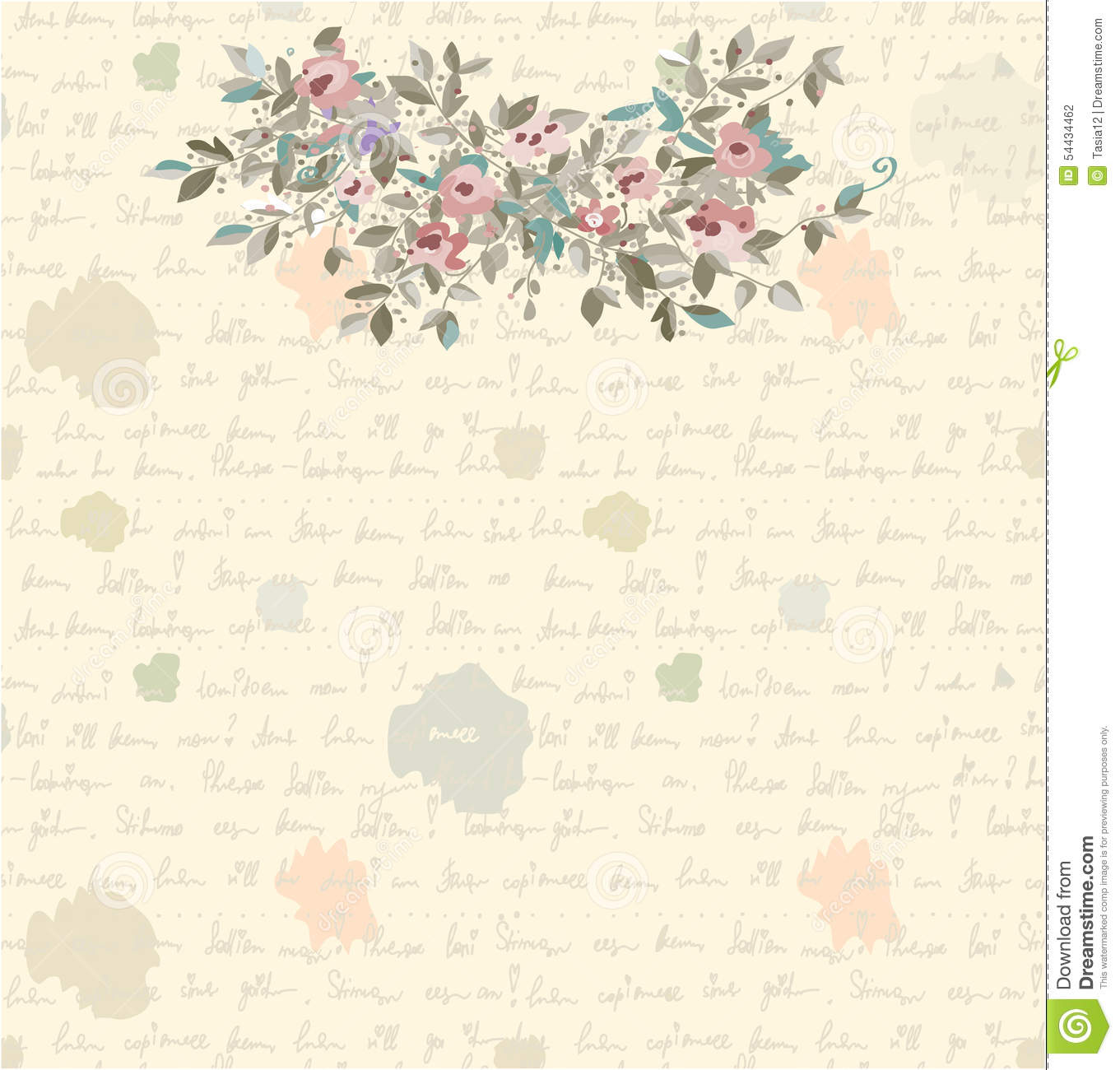 Retro Letter Background With Flowers And Text Stock Vector