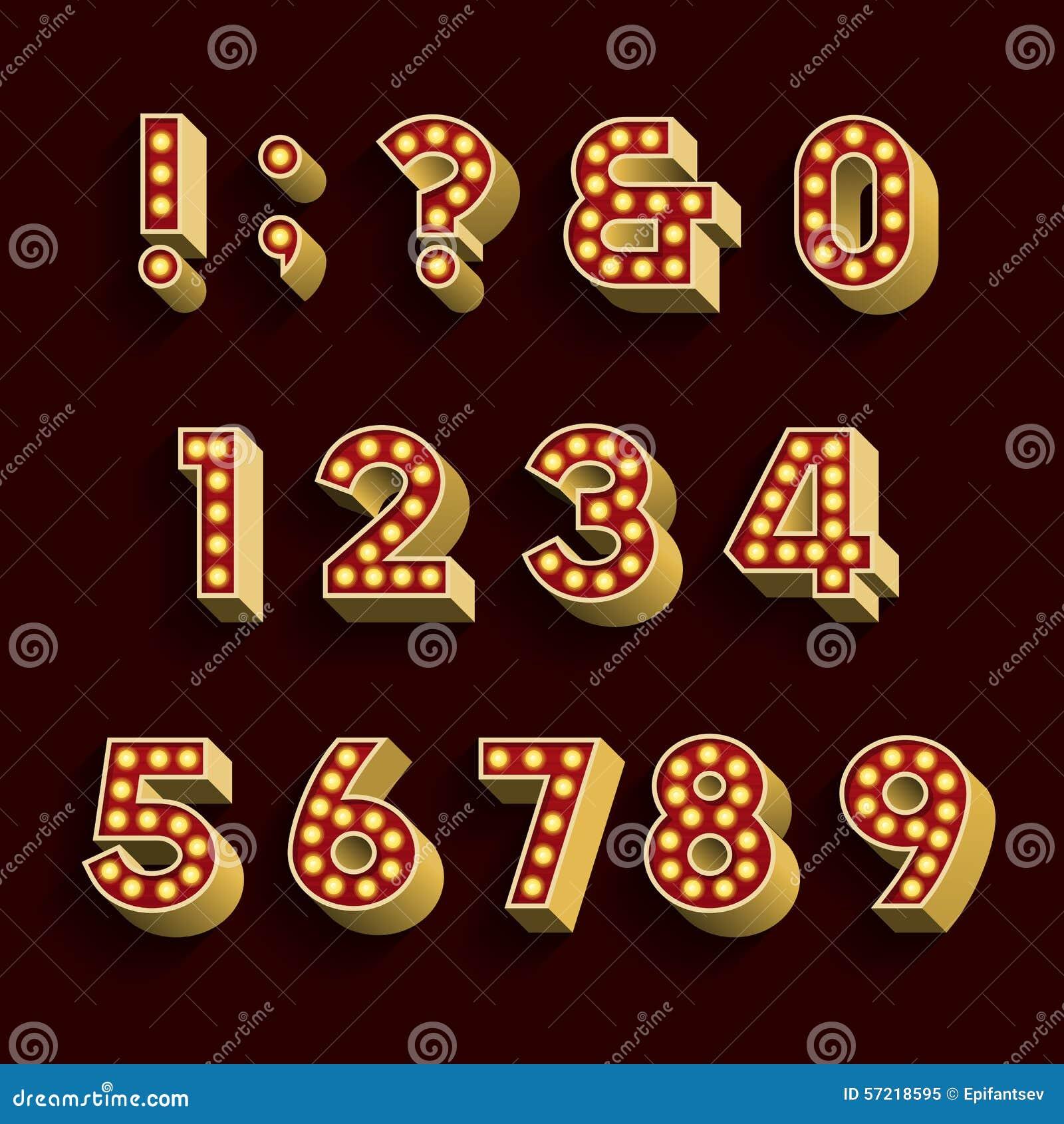 Retro Light Bulb Alphabet Vector Font. Part 3 Of 3 ...