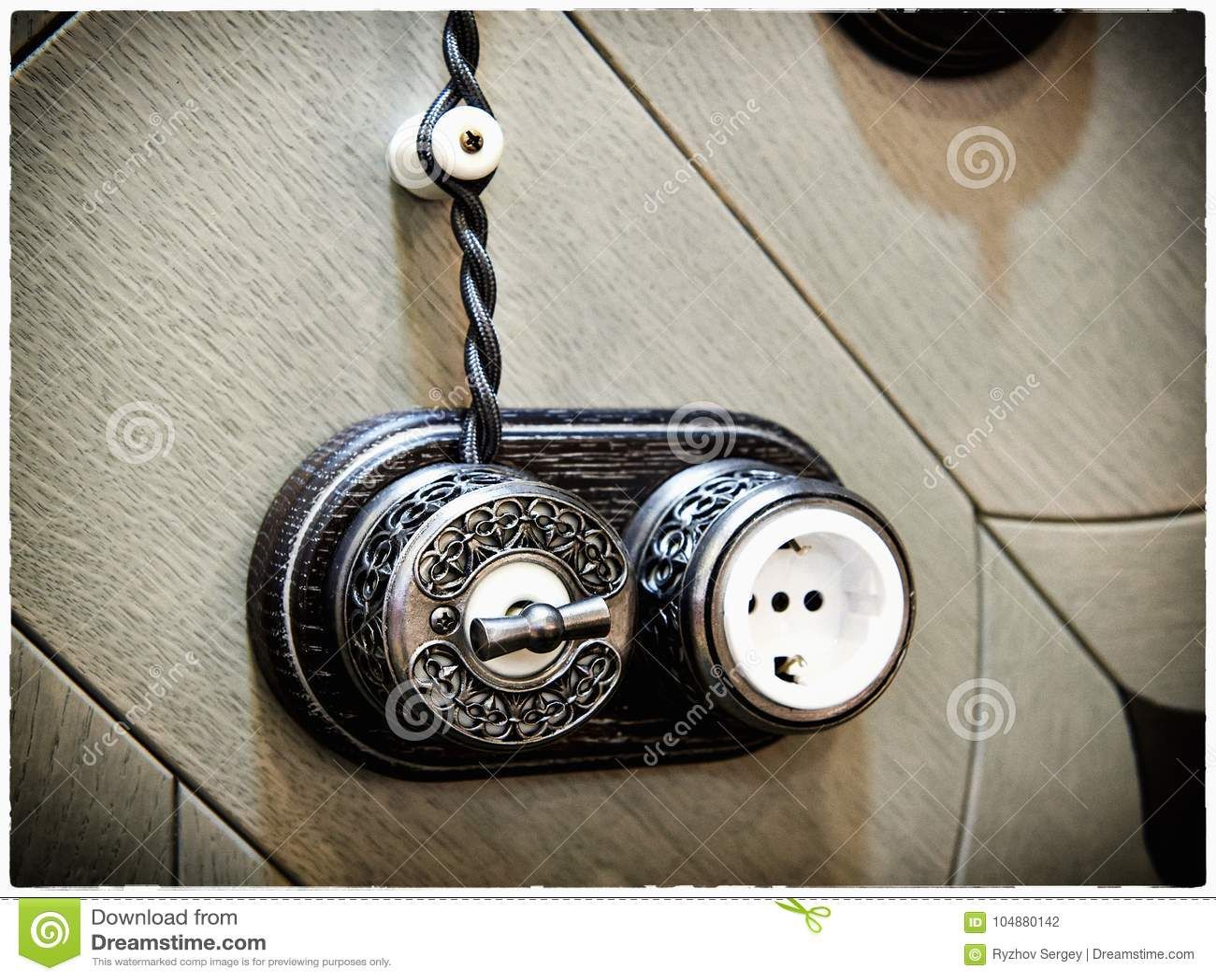 Retro Light Switch And Socket Stock Photo - Image of power ...