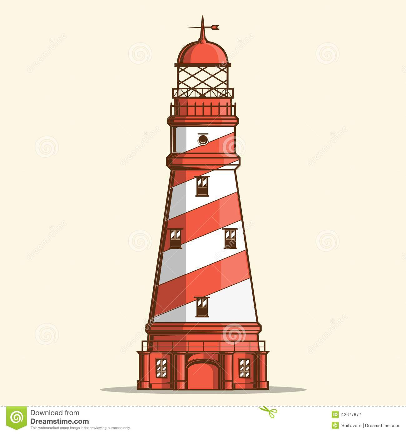 Retro lighthouse isolated on white background. Line art. Modern design ...