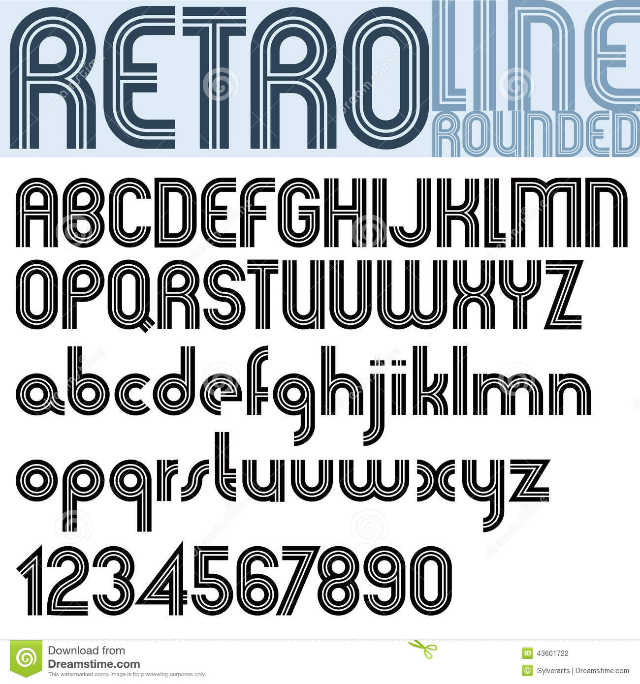 Retro Line Stylish Font Vector Alphabet