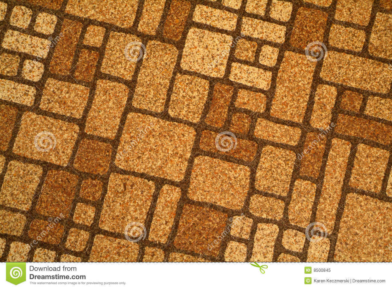Retro Seventies Orange Brown Pattern Linoleum Tile Floor Background