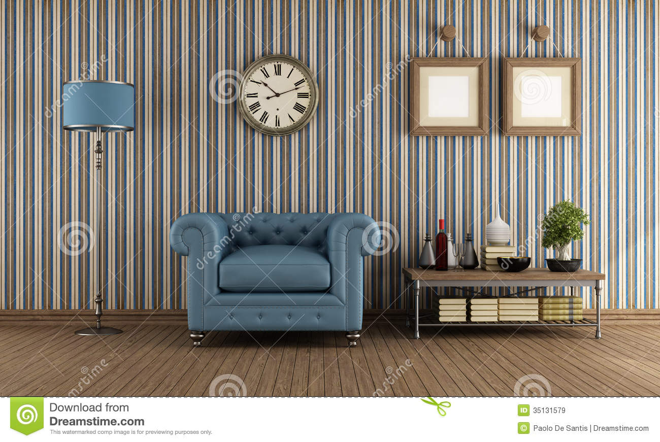 Retro Living Room Stock Illustration Illustration Of