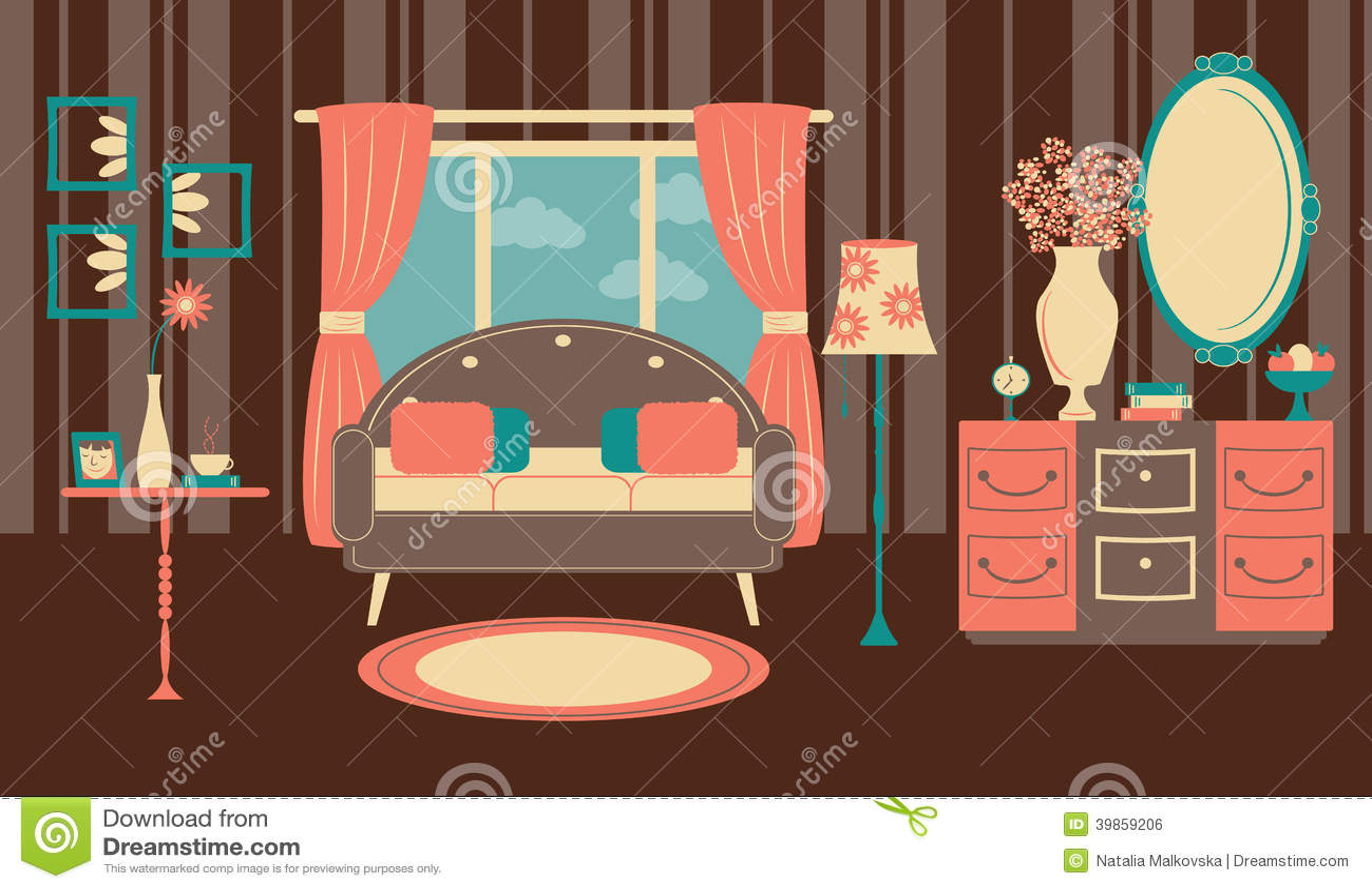 retro living room in a flat style stock vector image 39859206 design flat illustration interior retro