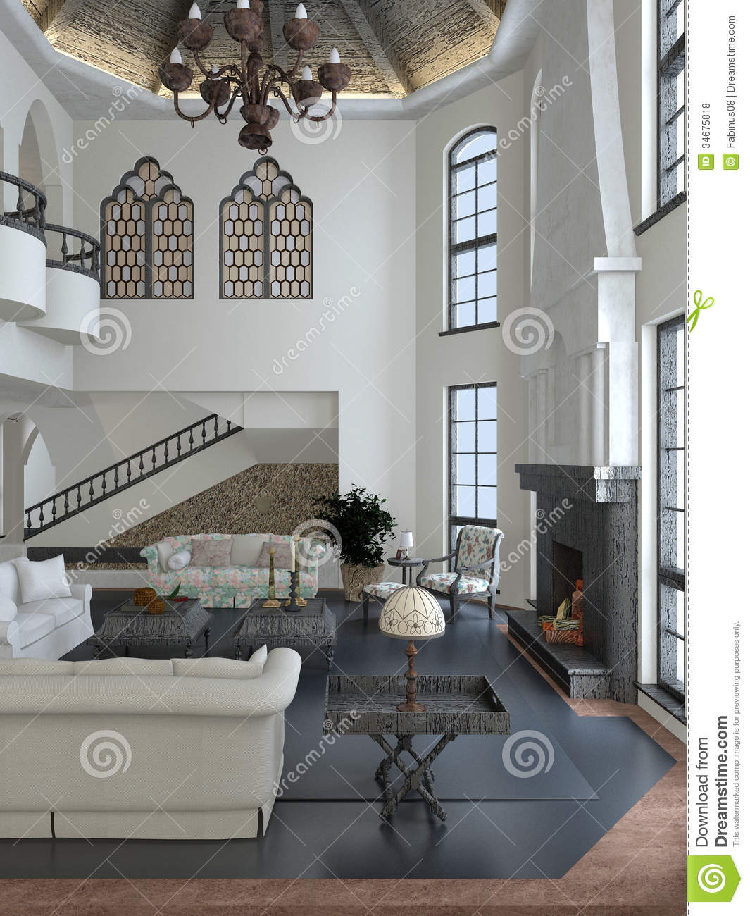 Living room and interior design in white brown and steel gray