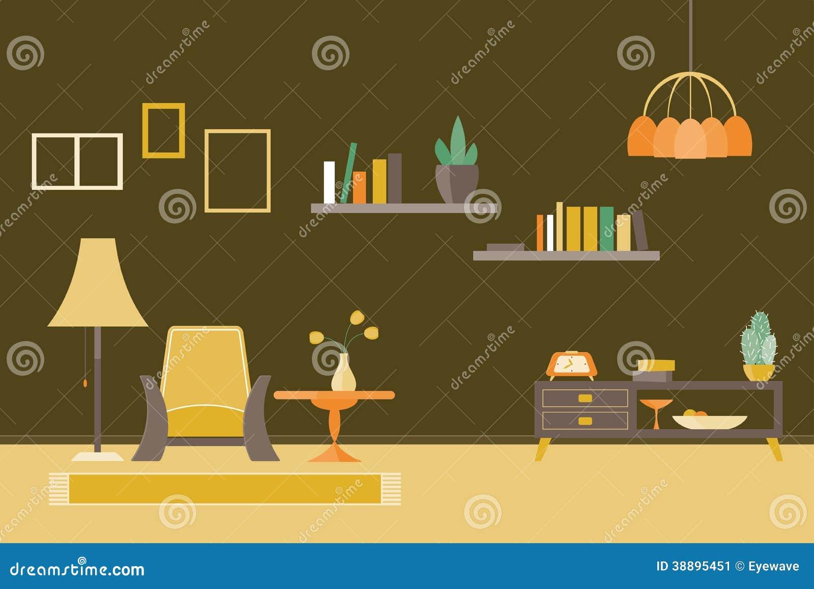1950s Design Flat Illustration Living Room Scene Vector