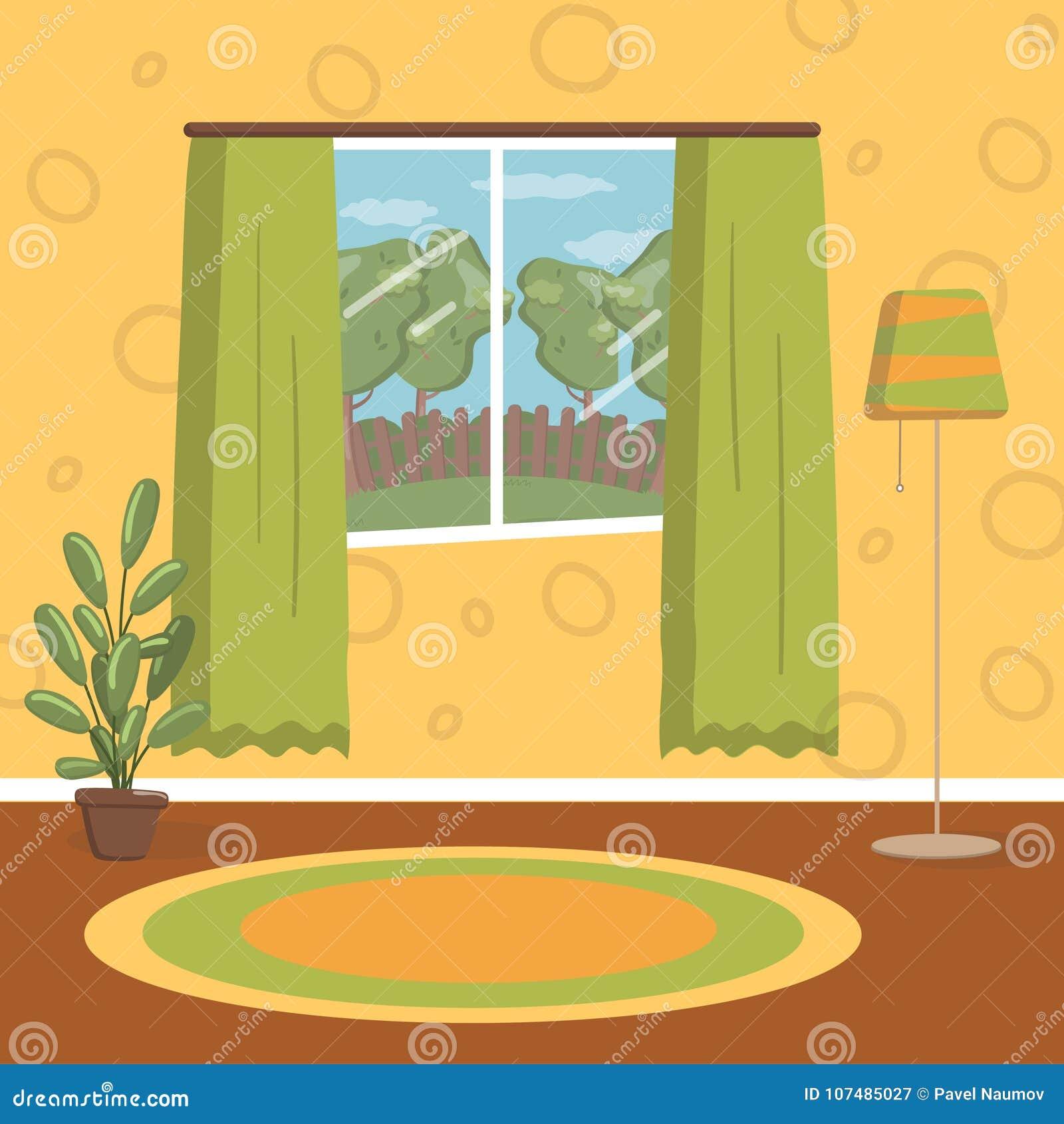 Groovy Retro Living Room Vintage Cozy Home Interior Vector Download Free Architecture Designs Fluibritishbridgeorg