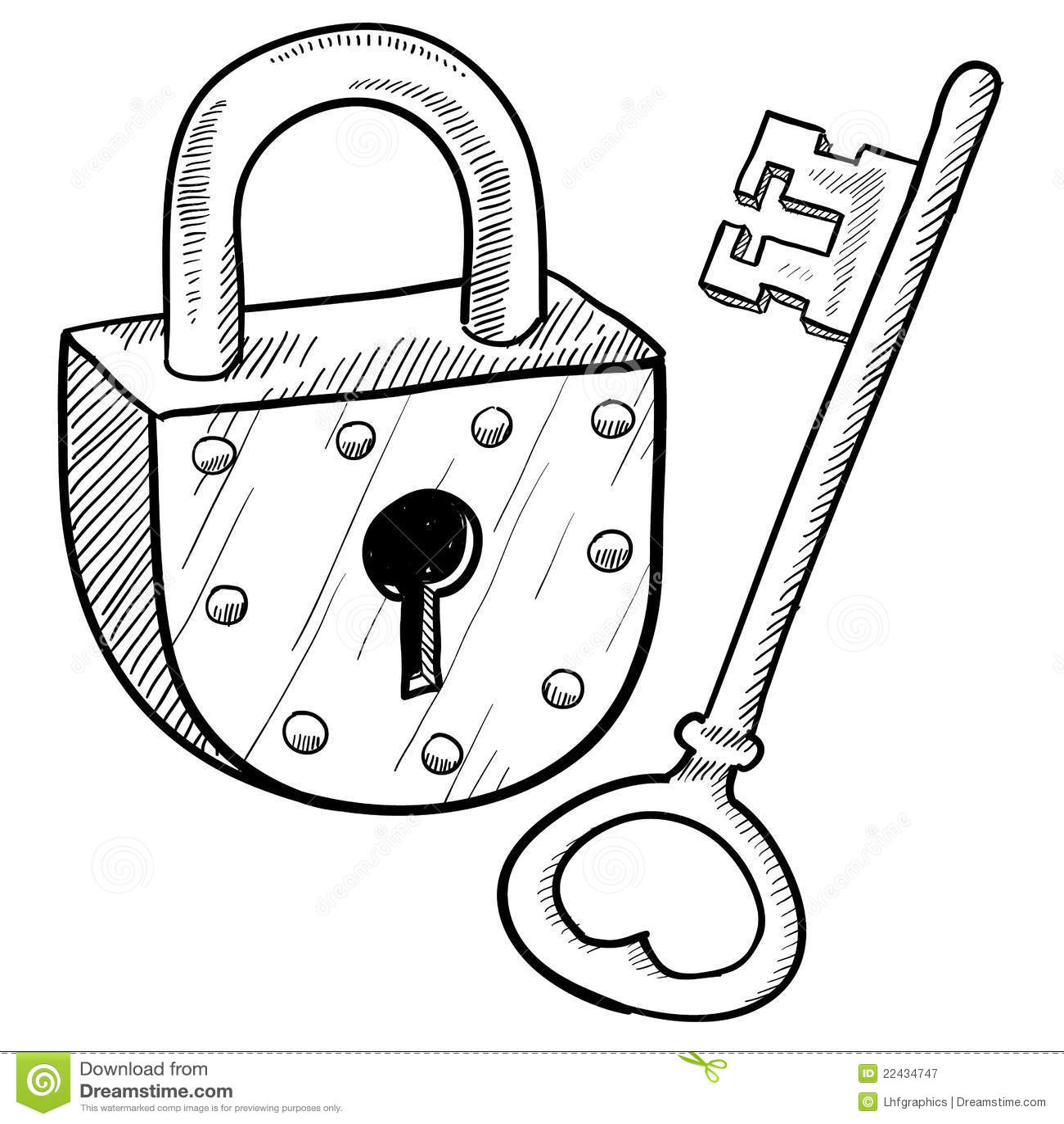Afbeelding 23 Kleurplaat Retro Lock And Key Stock Vector Illustration Of Safe