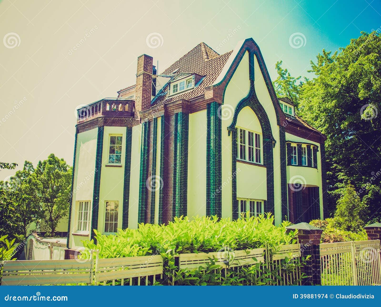 retro look behrens house in darmstadt stock photo image. Black Bedroom Furniture Sets. Home Design Ideas