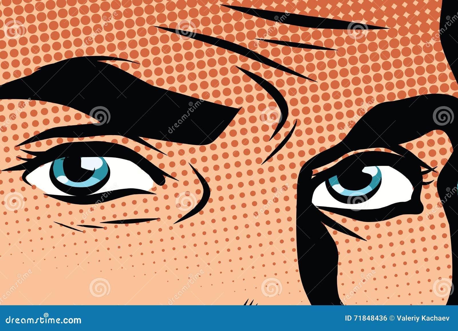 Retro manlig popkonst för blåa ögon