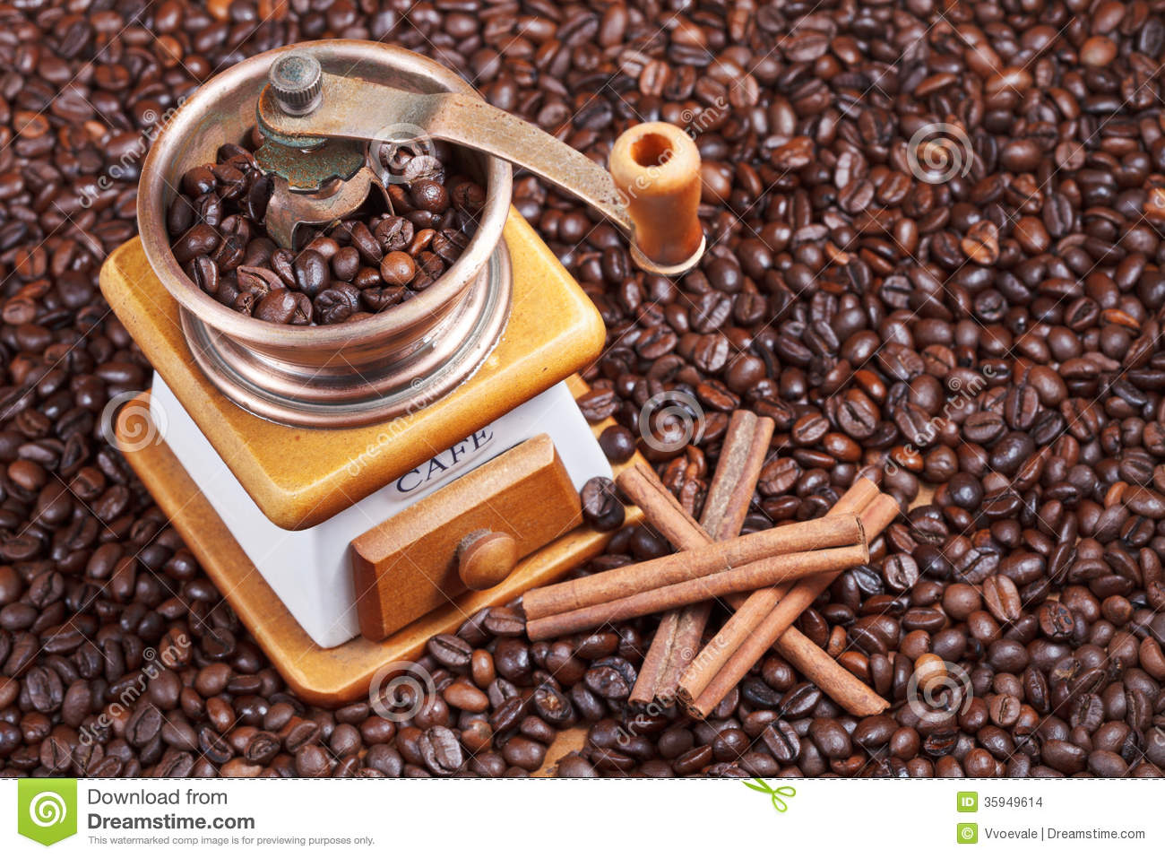 Retro Manual Coffee Mill On Roasted Beans Stock Images ...