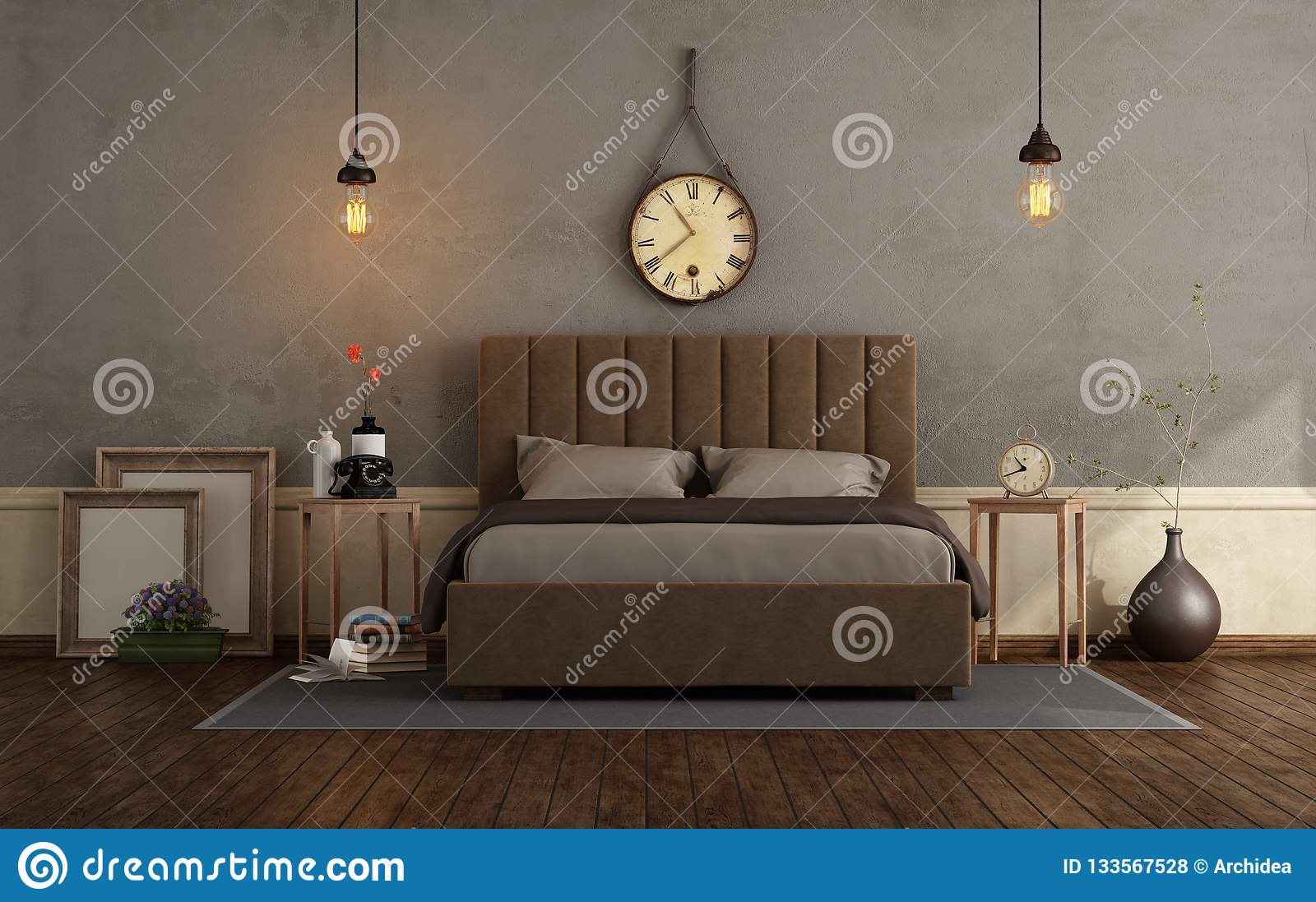 Retro Master Bedroom With Double Bed Stock Illustration Illustration Of Fabric Dark 133567528