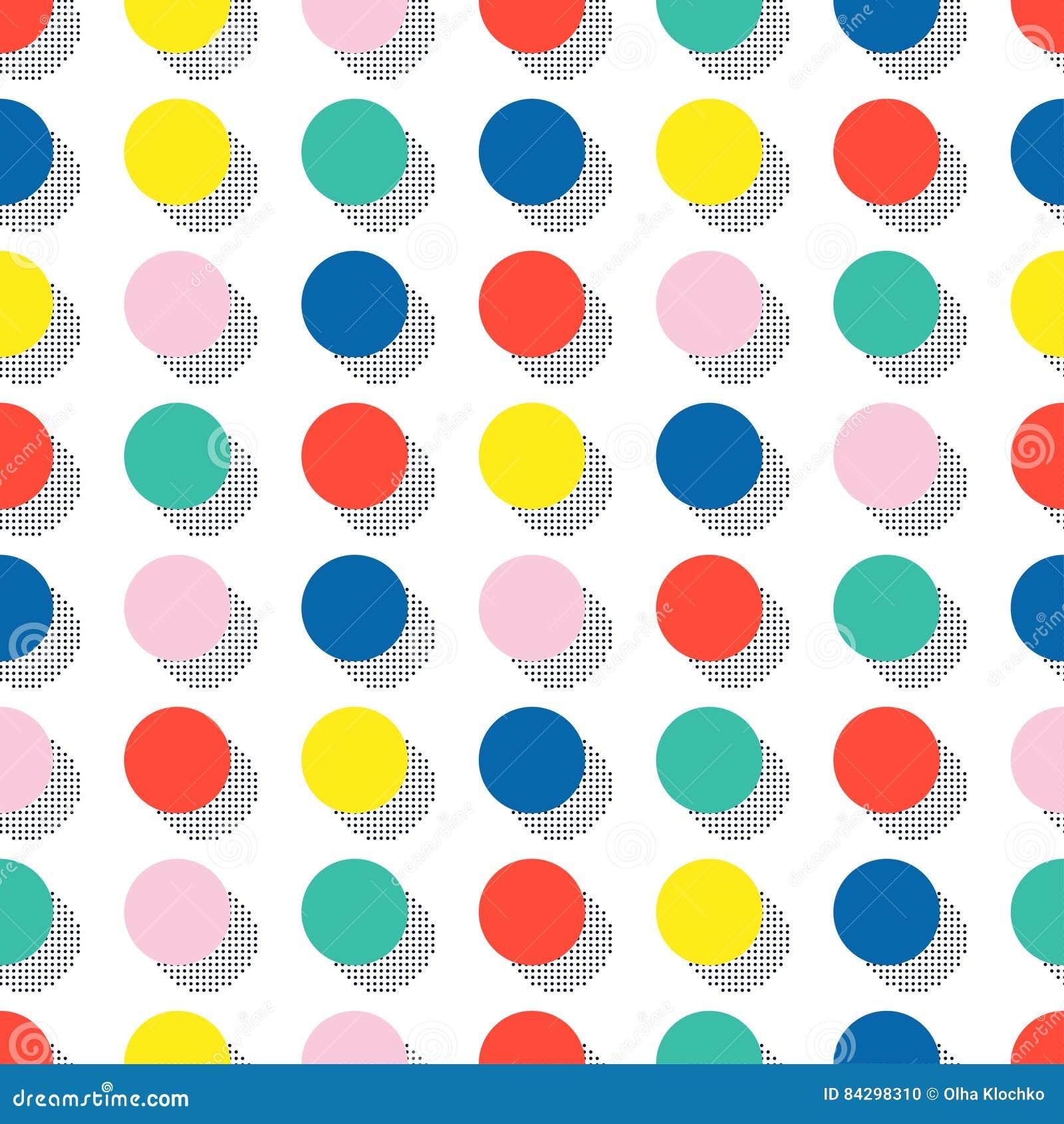 Retro Memphis kreskowych kształtów geometryczni bezszwowi wzory Modniś moda 80-90s Abstrakcjonistyczne bigos tekstury Okrąg, roun