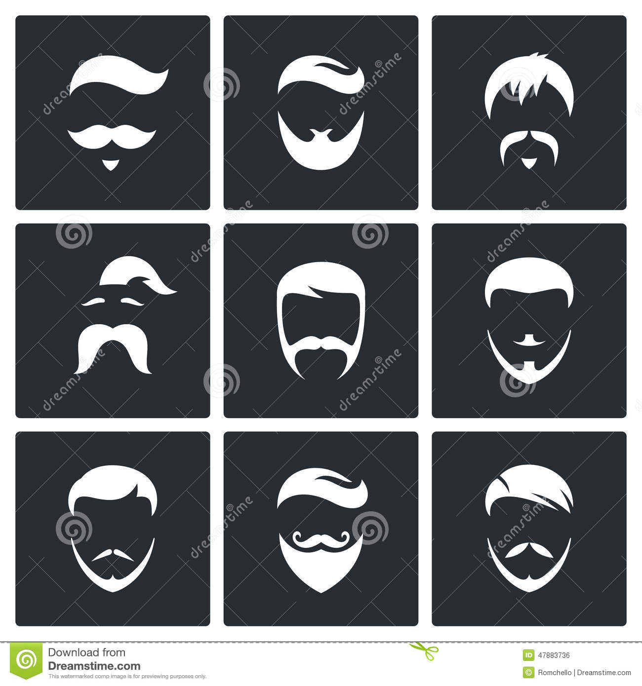 Hair Style Icons : Retro Mens Hair Styles Icon Set Stock Illustration - Image: 47883736