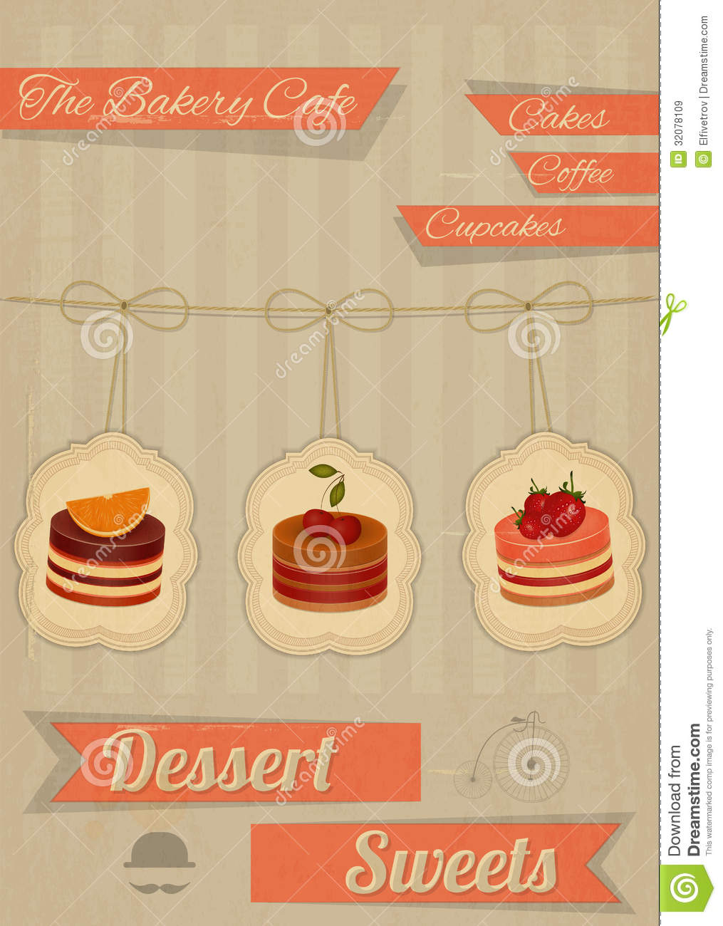 Retro Menu For The Cafe, Pastry Shop Stock Vector - Image ...