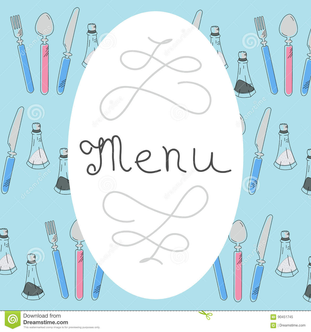 Retro Menu Design with hand drawn lettering. Flat Vector