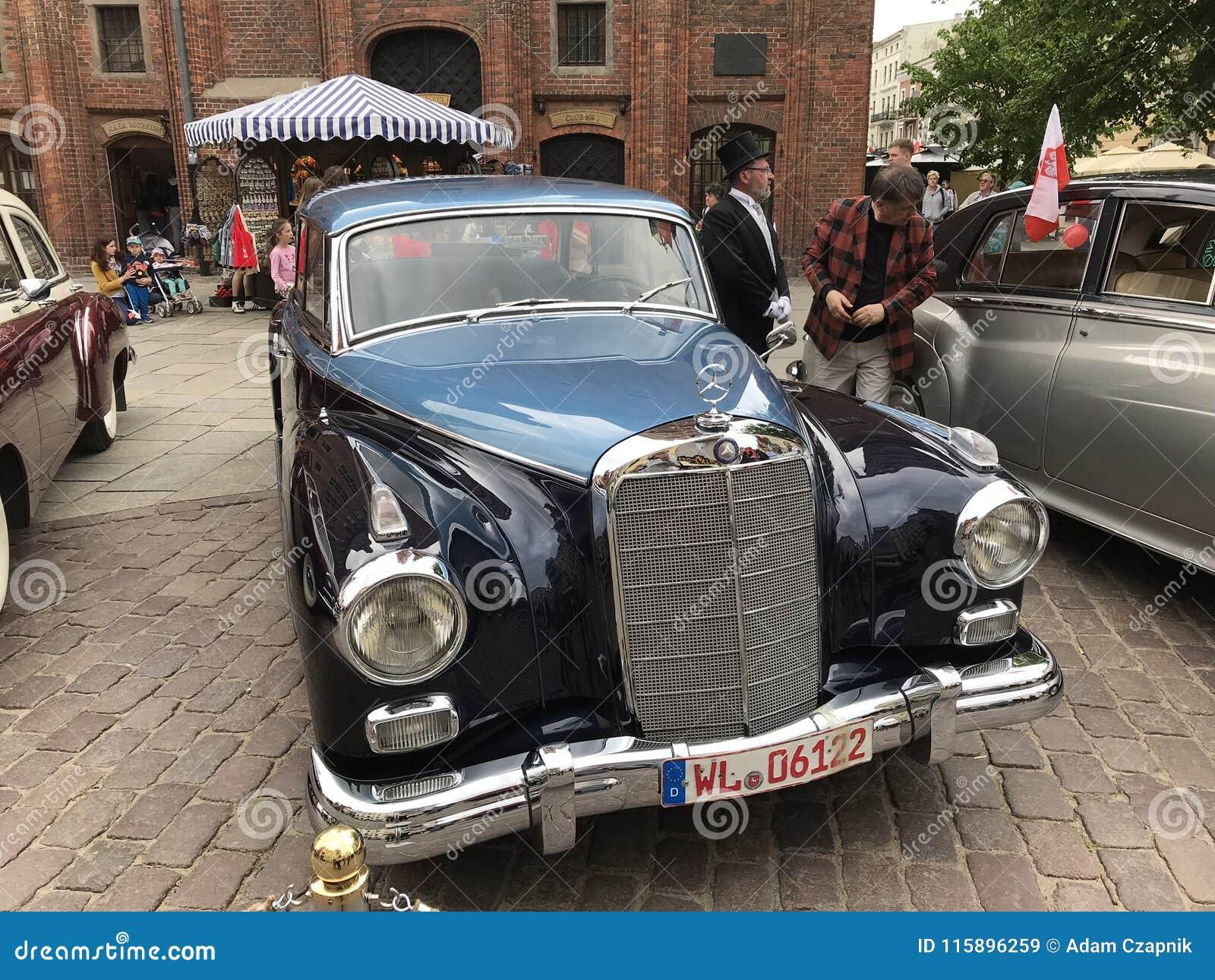 Retro Mercedes at classic cars show in Torun