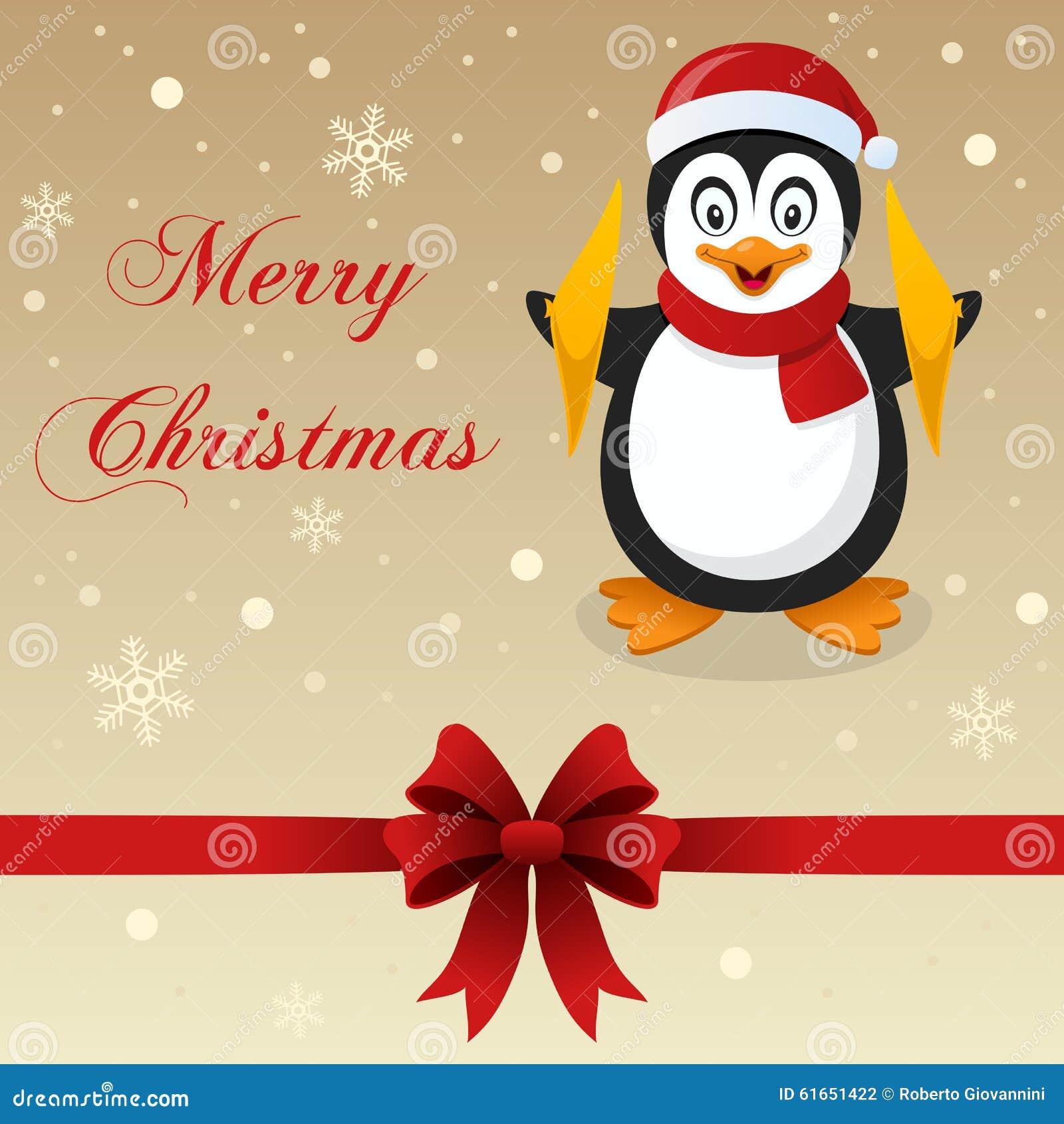 retro merry christmas card penguin stock vector image 61651422. Black Bedroom Furniture Sets. Home Design Ideas