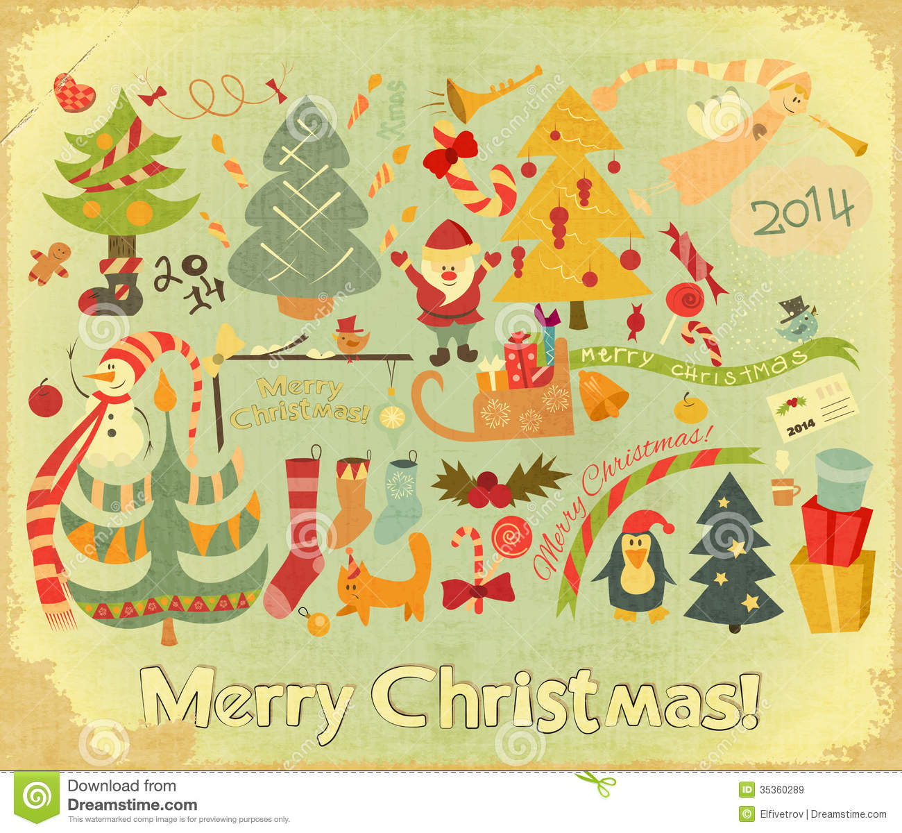 Retro Merry Christmas Card Royalty Free Stock Images ...