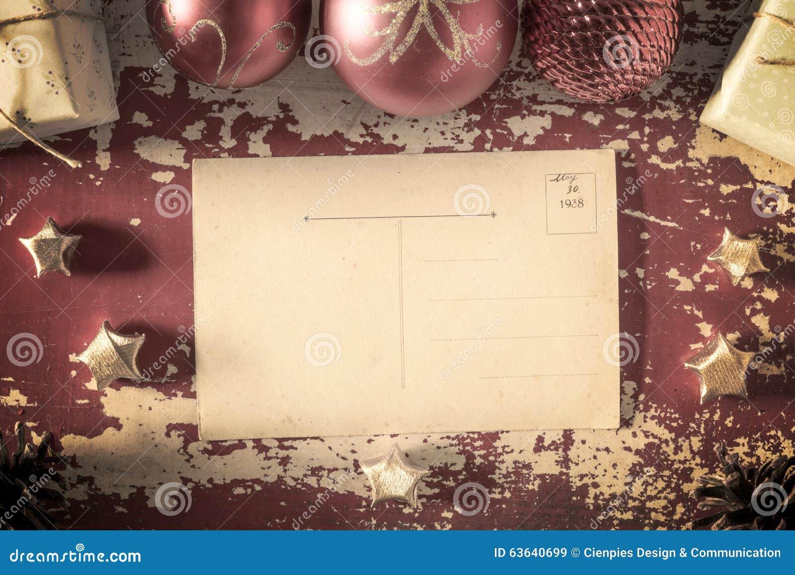 Retro Merry Christmas Vintage Greeting Card Stock Image Image Of