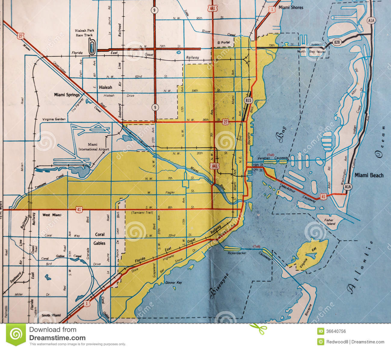 Retro Miami Florida Map Royalty Free Stock Image Image - Map of miami florida