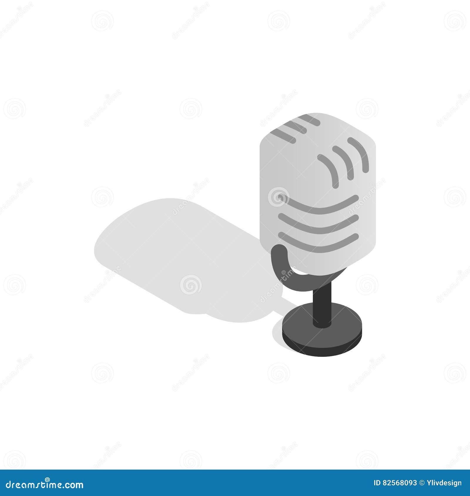 Retro Microphone Icon, Isometric 3d Style Stock Vector - Image ...