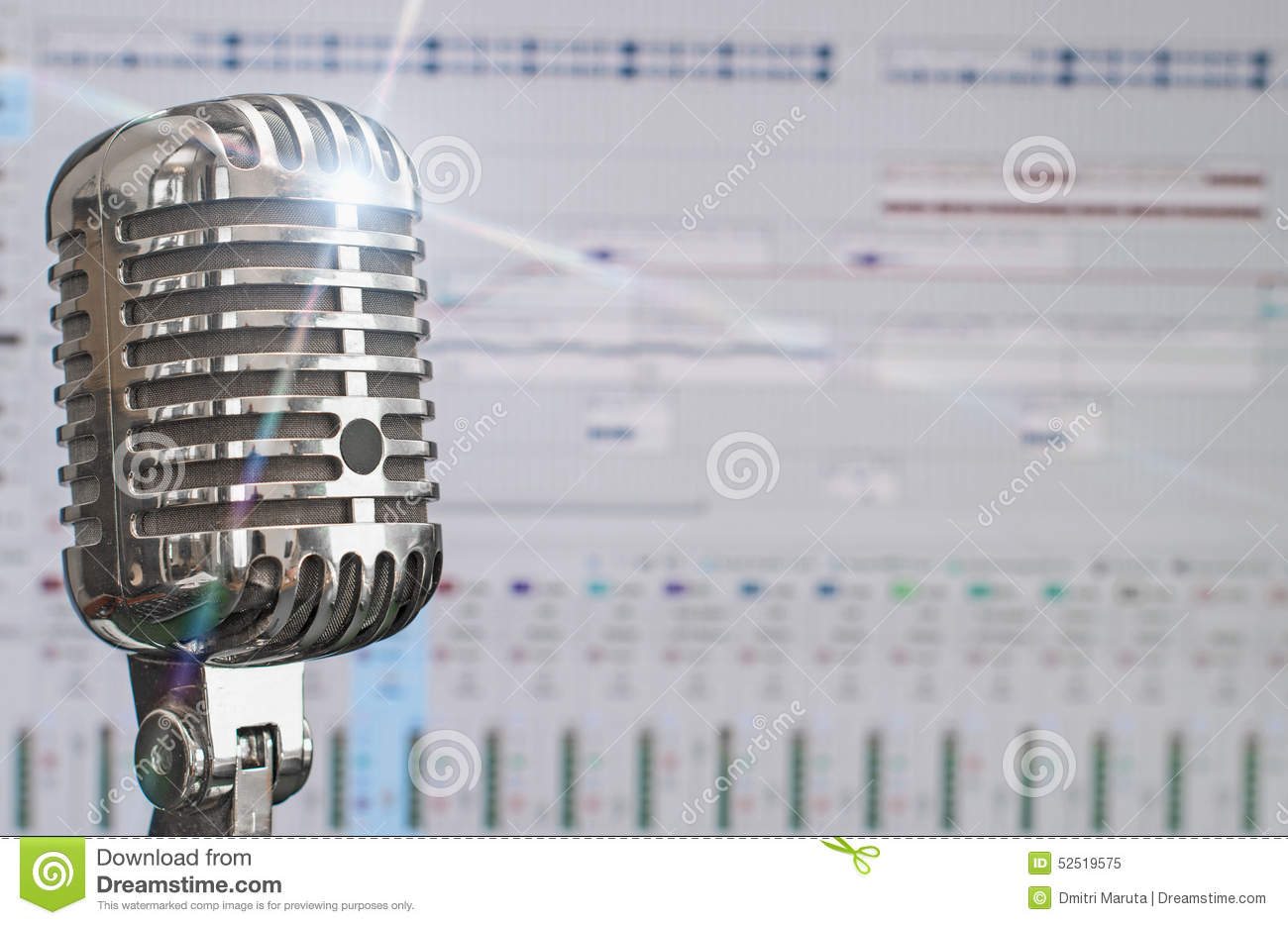 Retro microphone over recording software.