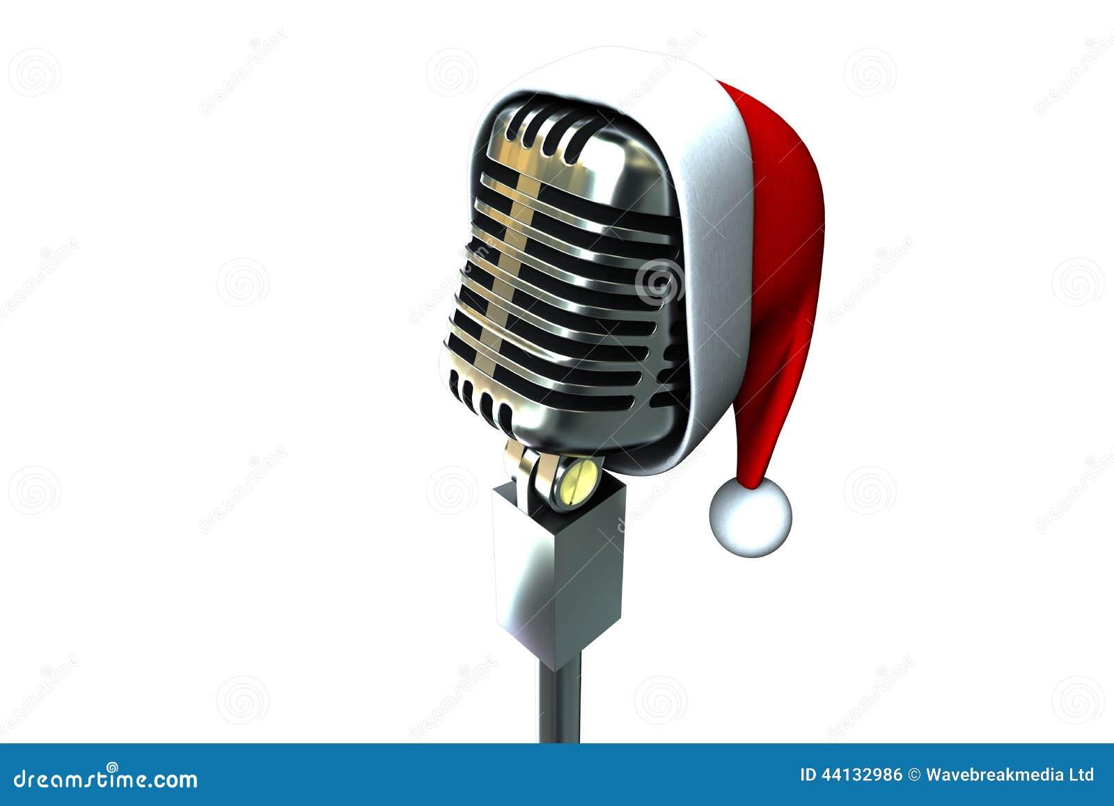 Retro Microphone With Santa Hat Stock Illustration Image