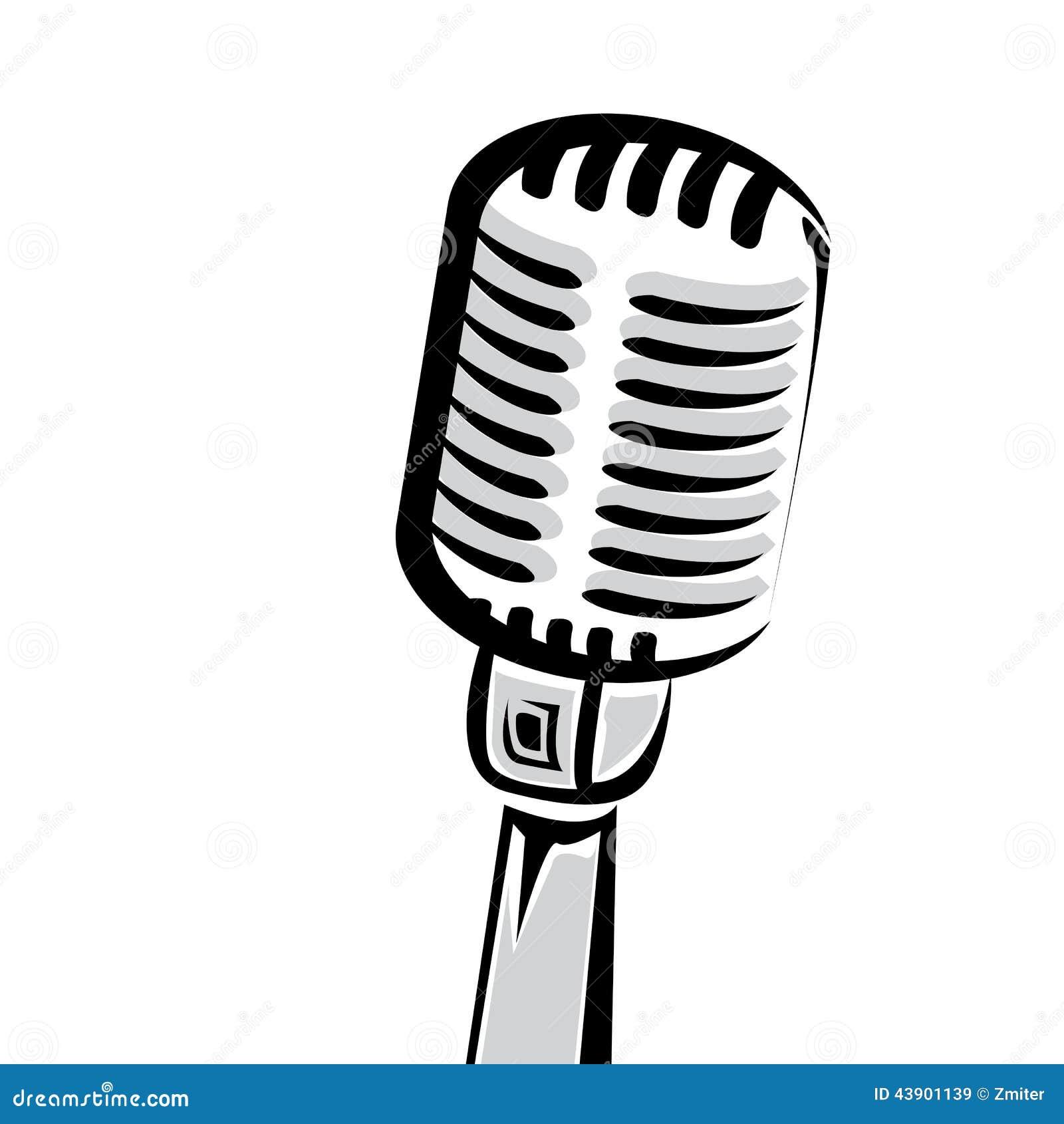 Retro Microphone Silhouette Vector Illustration Stock ...