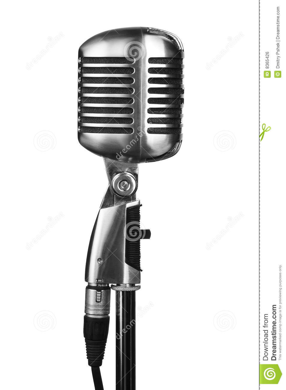 Retro Microphone On Stand Isolated On White Stock Photo