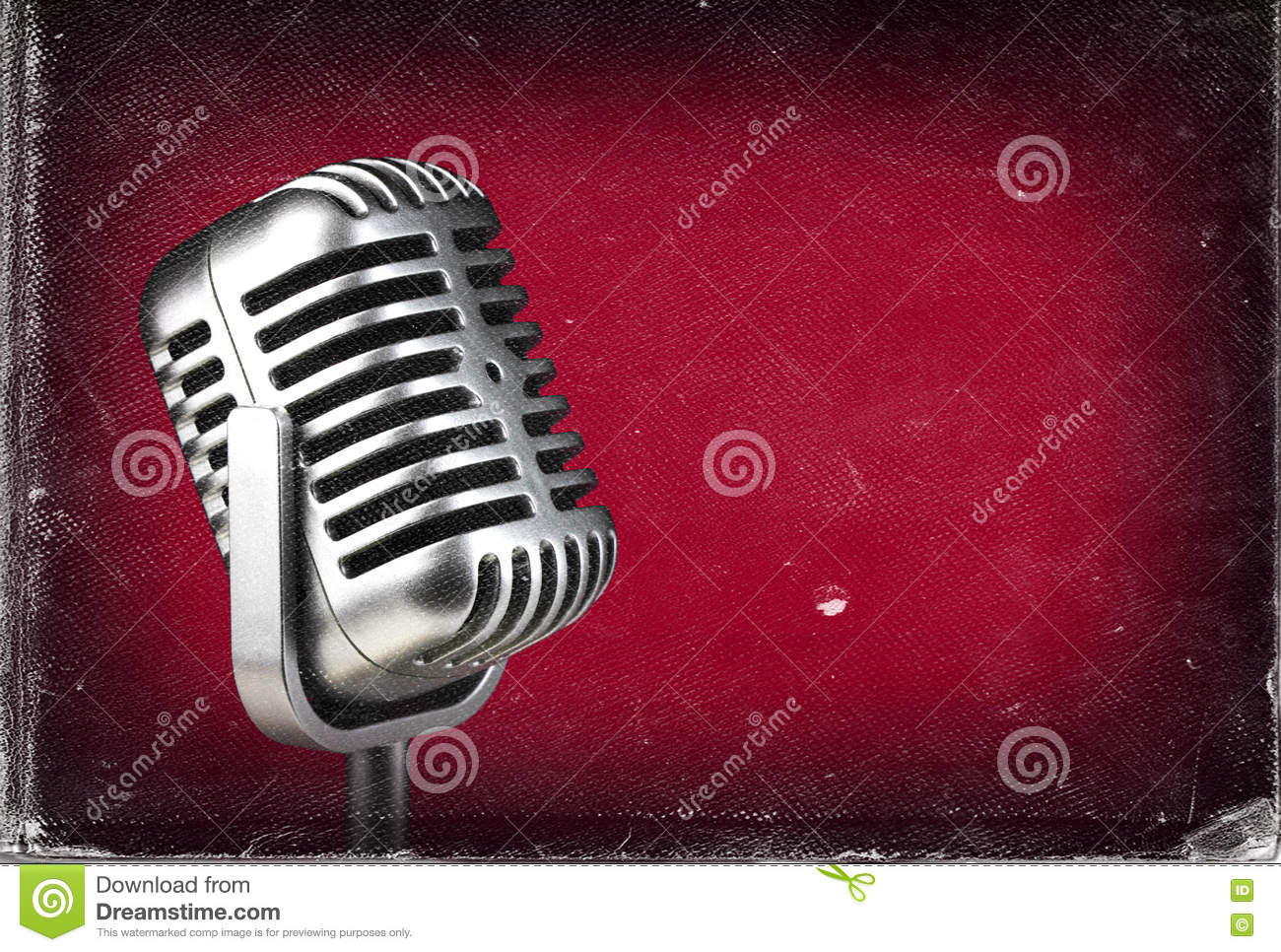 Retro microphone. ) Vintage style or worn paper photo image