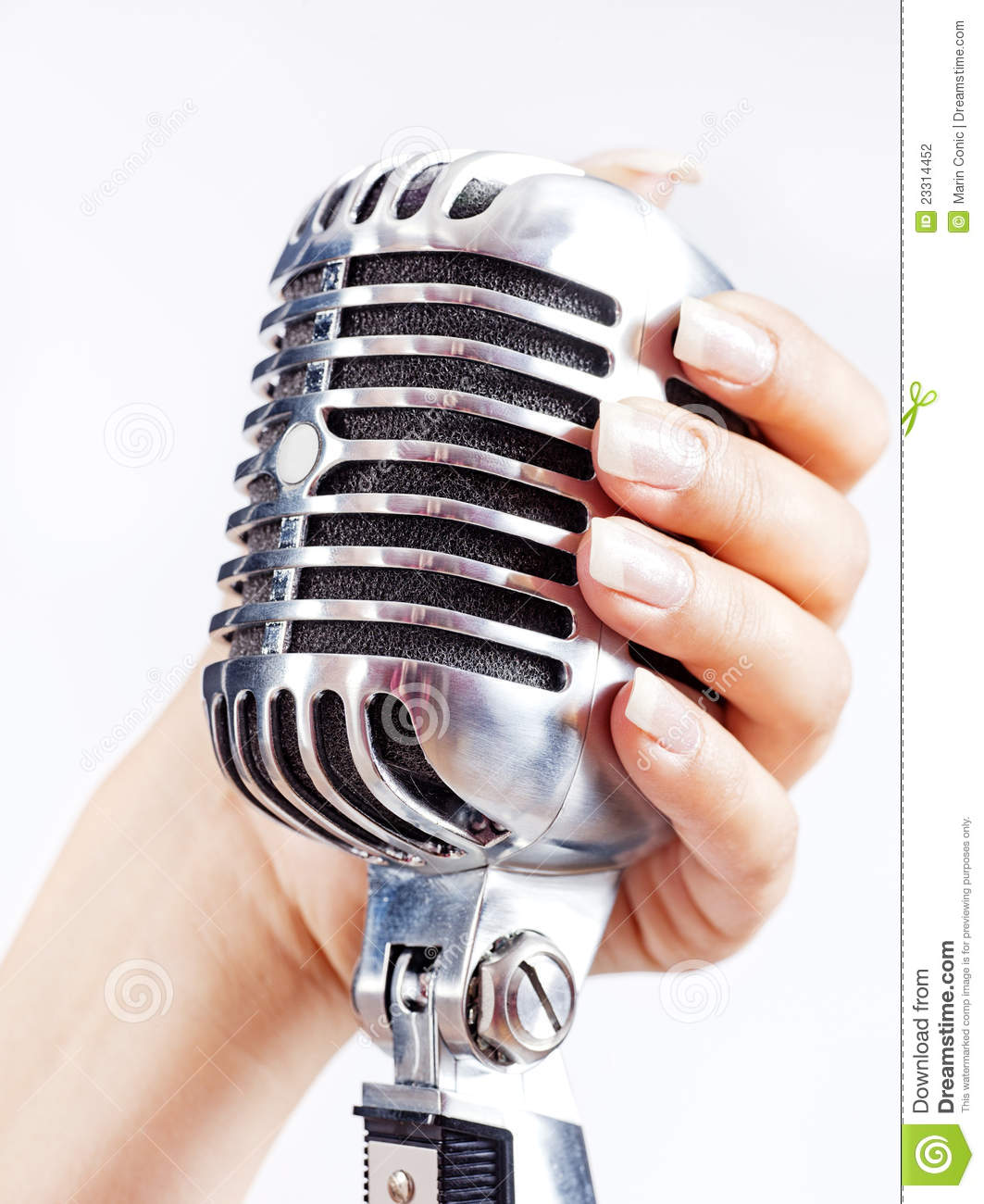 Microphone In Hand : Retro microphone in woman s hand stock photography image