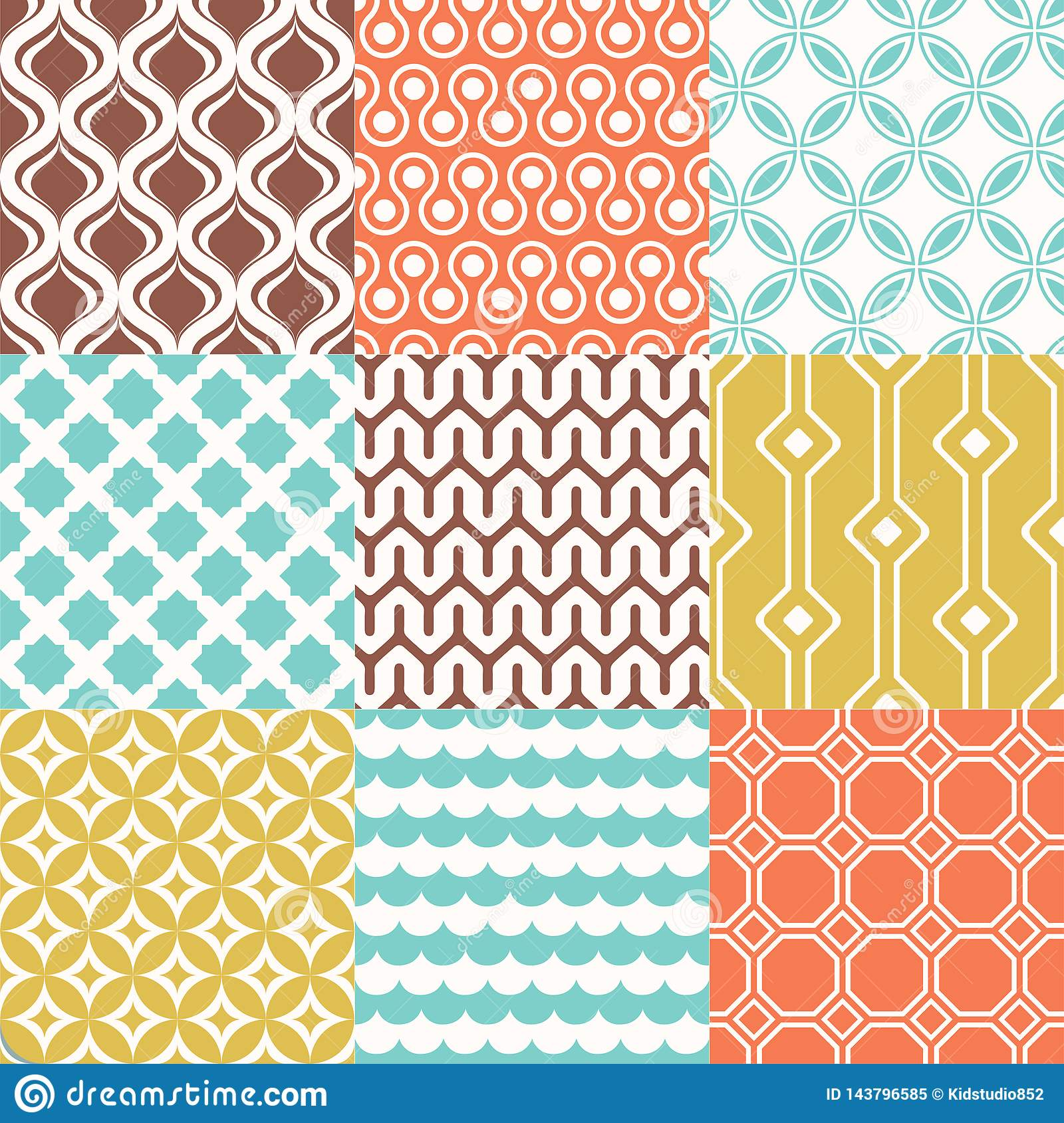 Retro Mid Century 70s Geometric Wallpaper Pattern Funky Colorful Texture Seamless Background Stock Vector Illustration Of Background Geometry 143796585