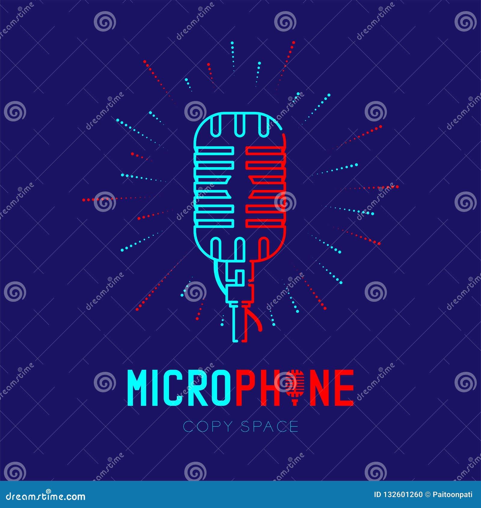 Retro mikrofonu logo ikony konturu uderzenie z promieniomierz ramy junakowaniem