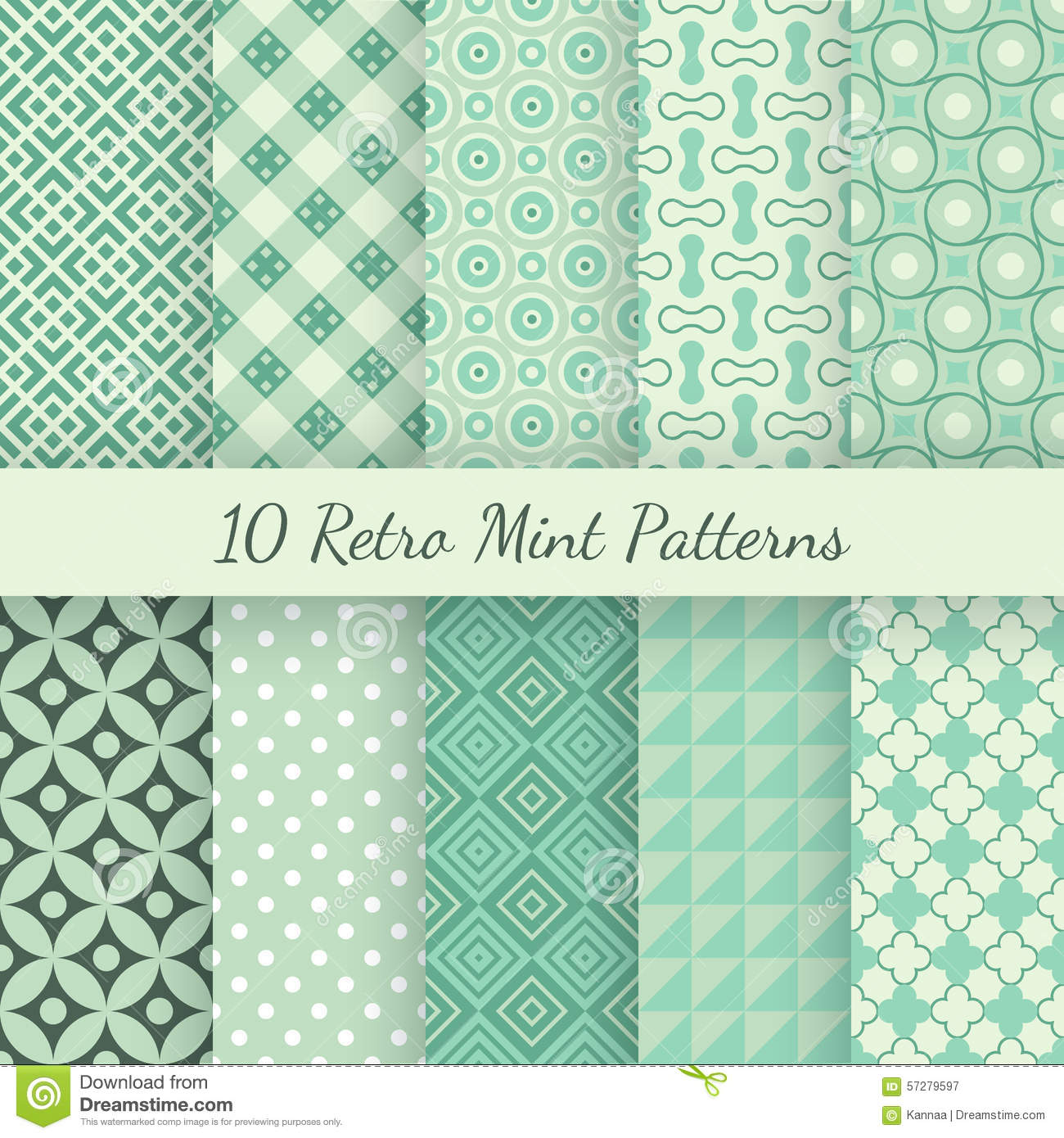 Retro Mint Different Vector Seamless Patterns Stock Vector ...