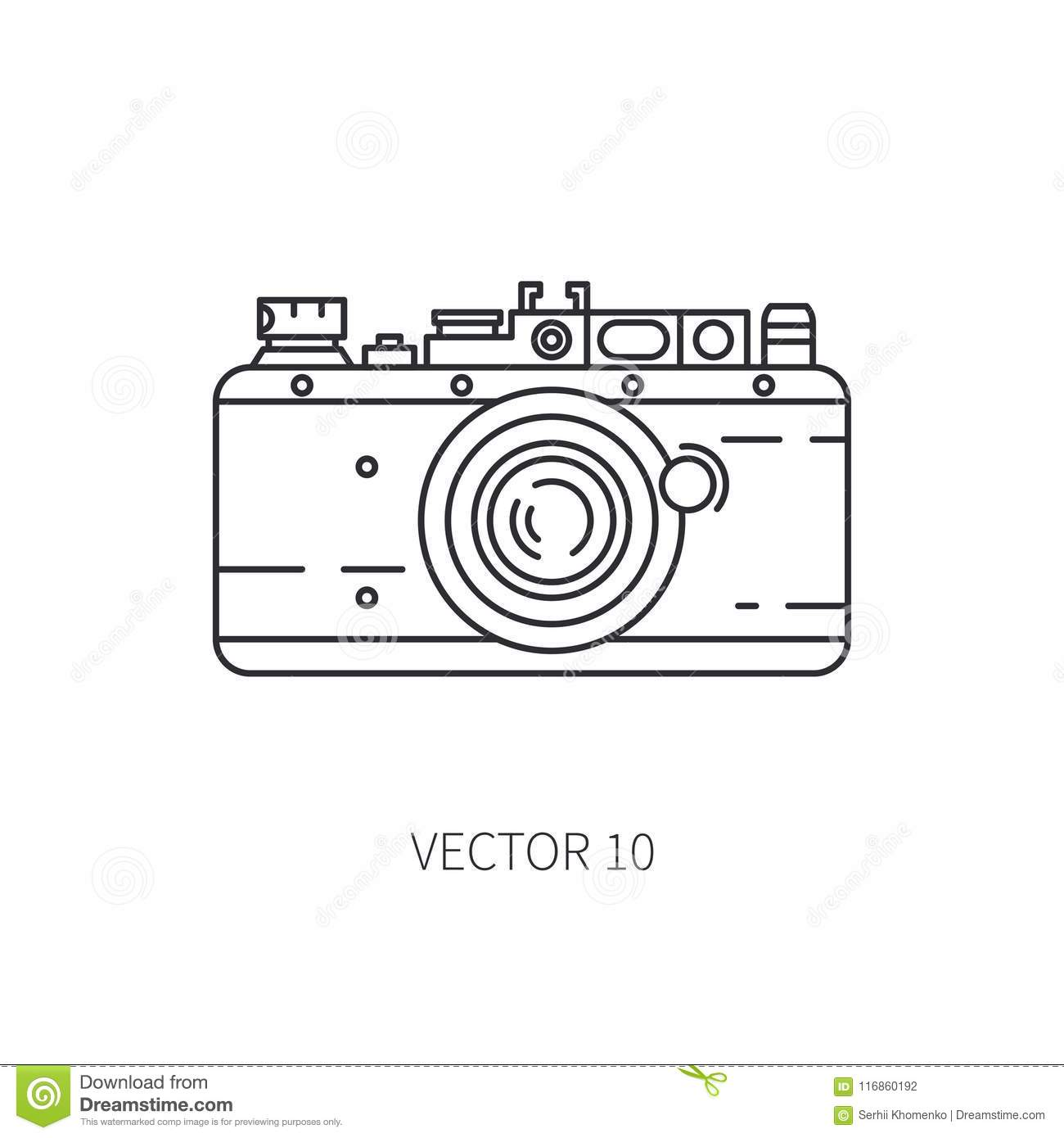 Retro 35mm film camera vector line icon. Summer travel vacation, tourism, camping. 1960s style. Old photography