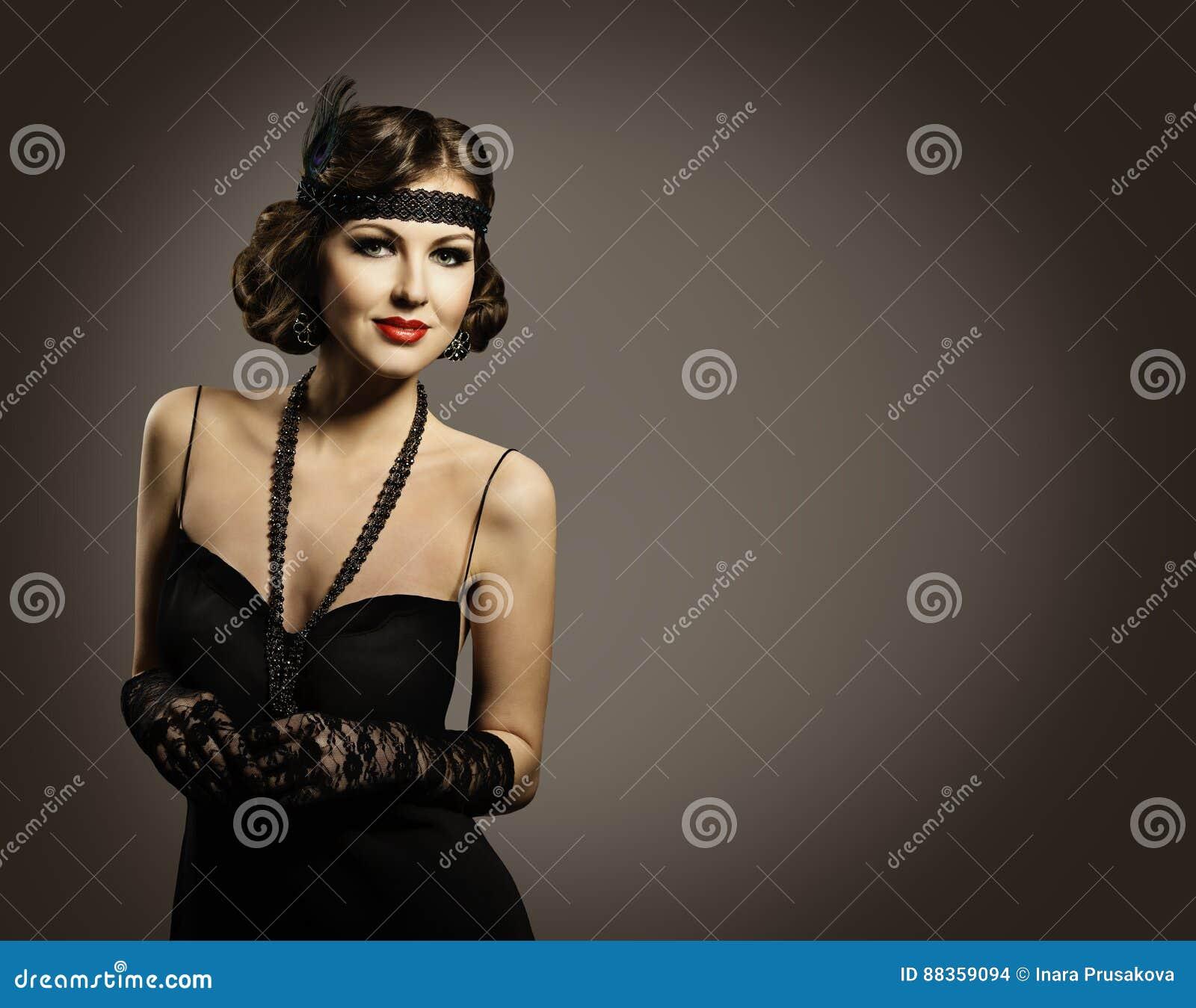 Retro- Mode-Schönheit, Schönheits-Porträt, altes Frisur-Make-upkleid