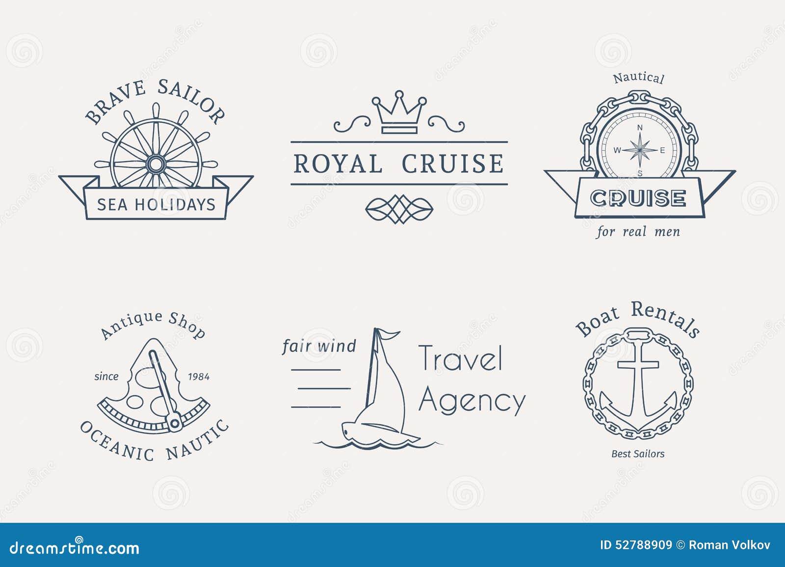 Retro modelli nautici di logo di vettore