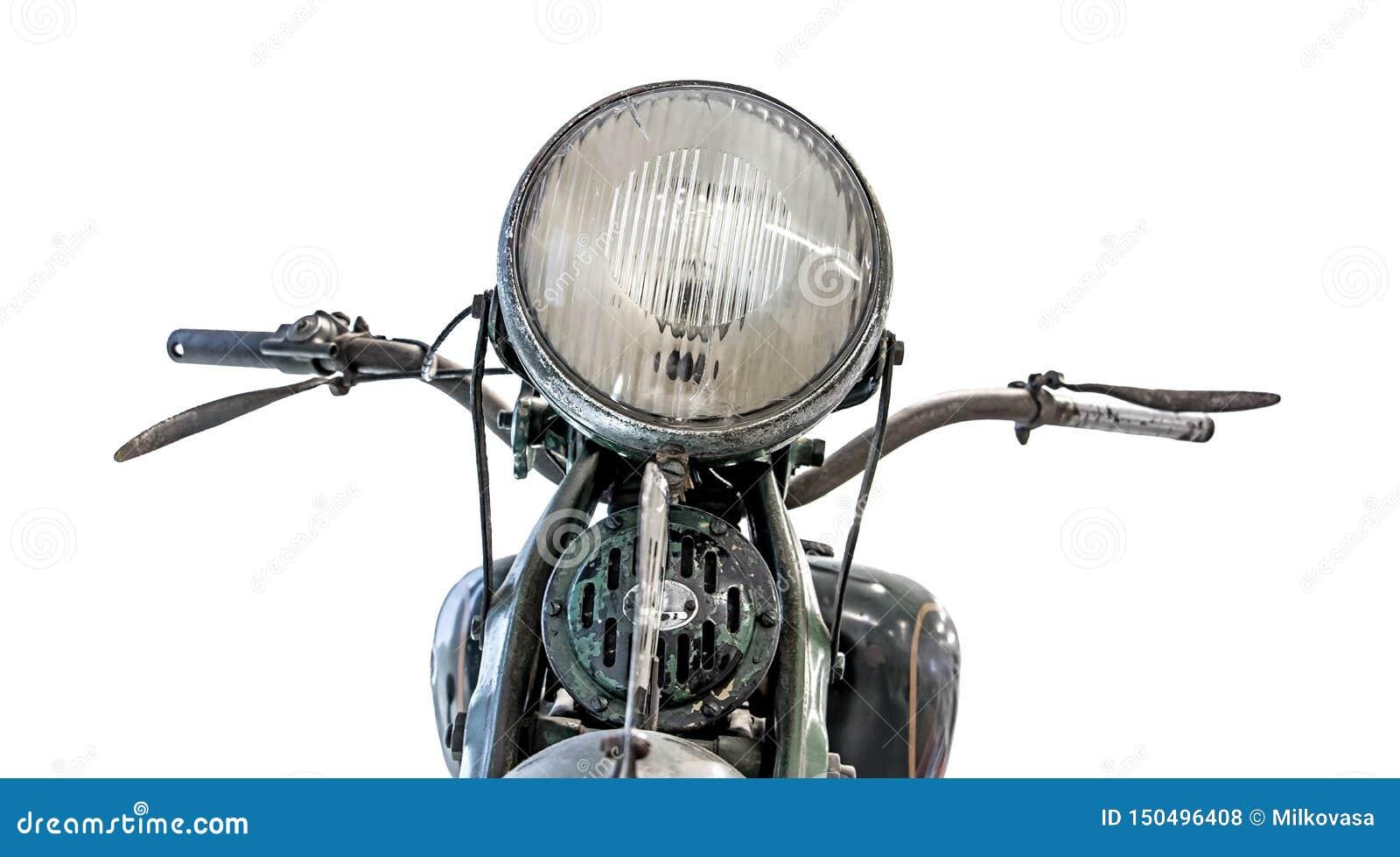 Retro motocyklu headlamp, handlebars i