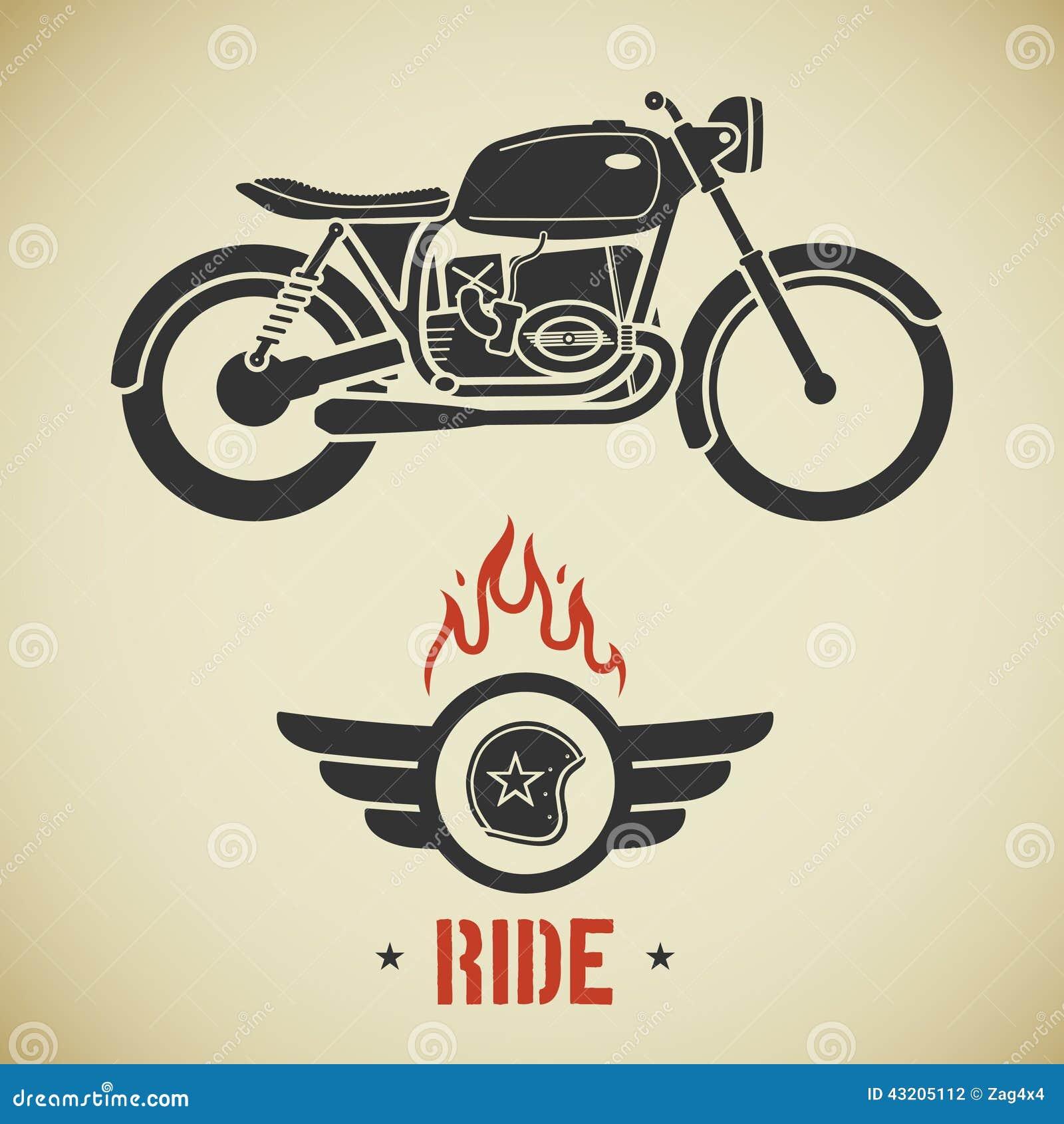 Download Retro motorcykel stock illustrationer. Illustration av cafe - 43205112