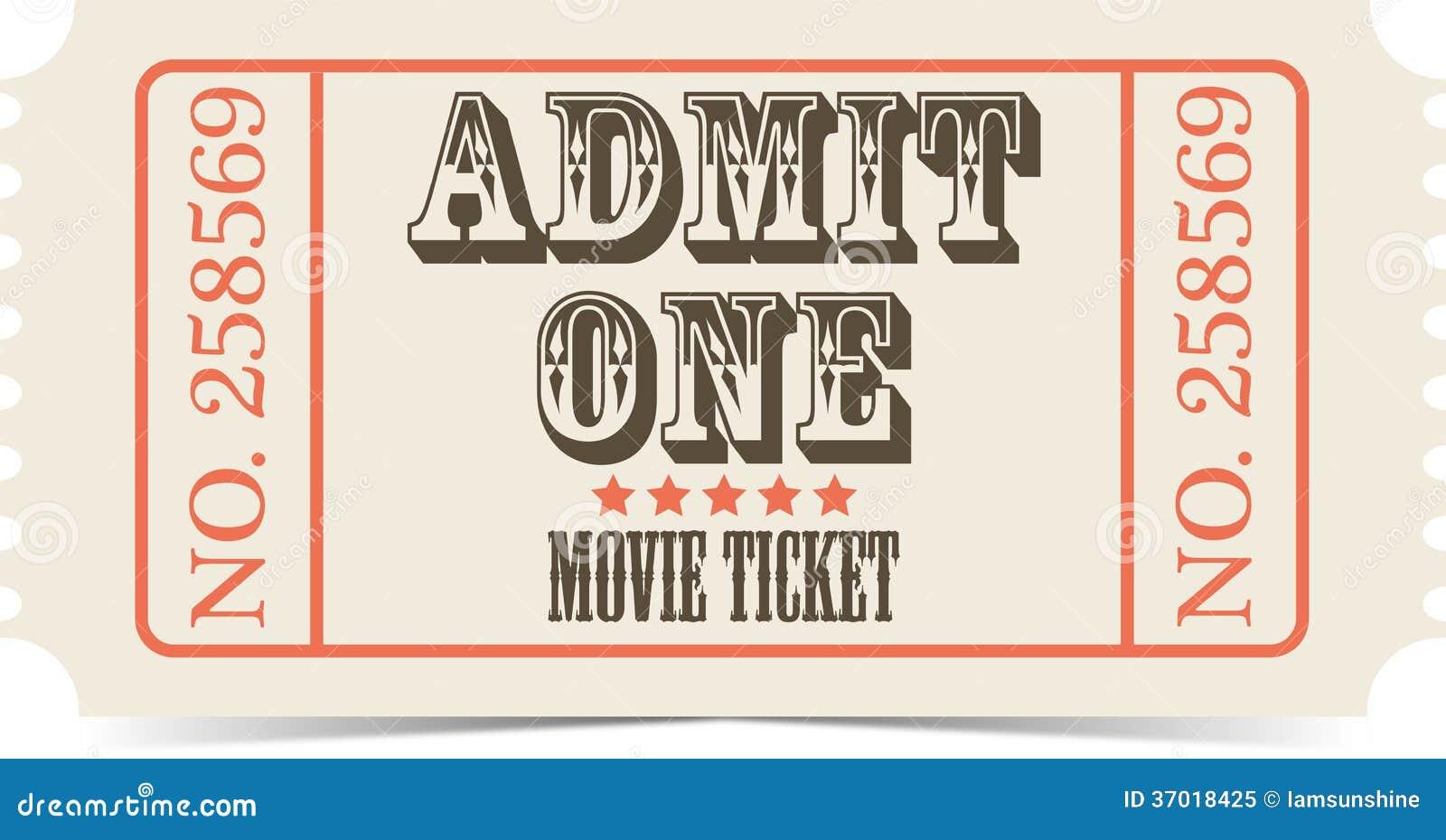 fake movie ticket template - retro movie vector ticket royalty free stock photo image
