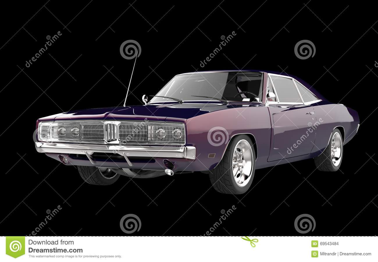 Retro Muscle Car Purple Pearlescent Paint Stock Photo Image Of