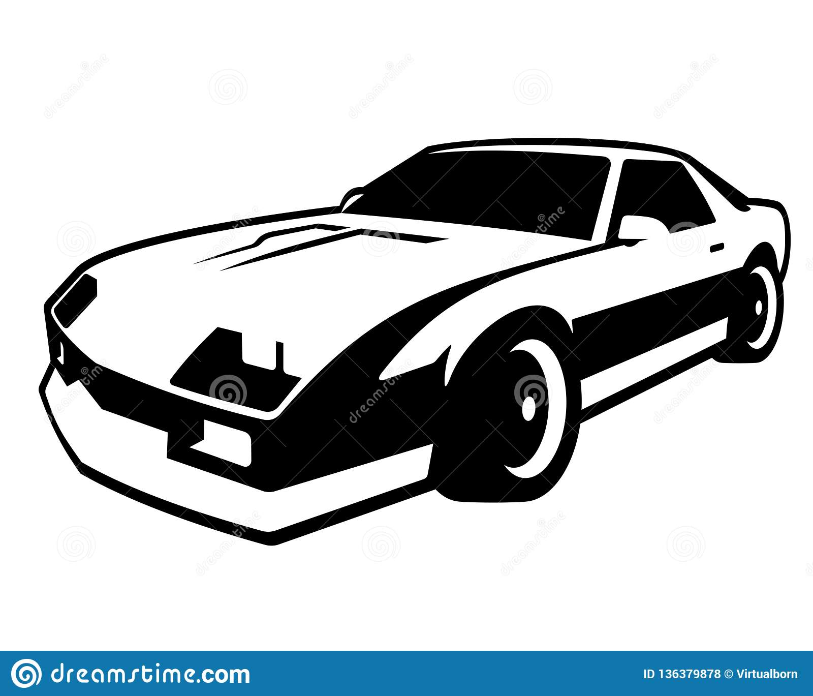 Retro muscle car vector illustration vintage black and white sticker of reto car old black mobile isolated on white