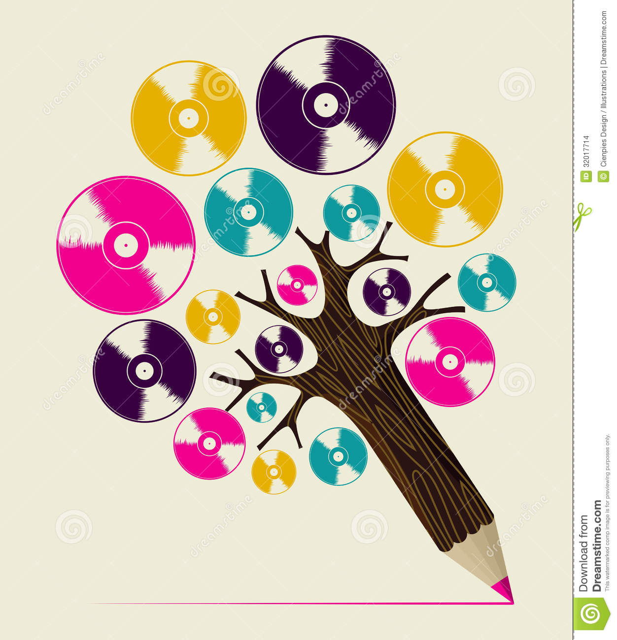 Retro analogue music vinyl disc concept pencil tree. Vector ...