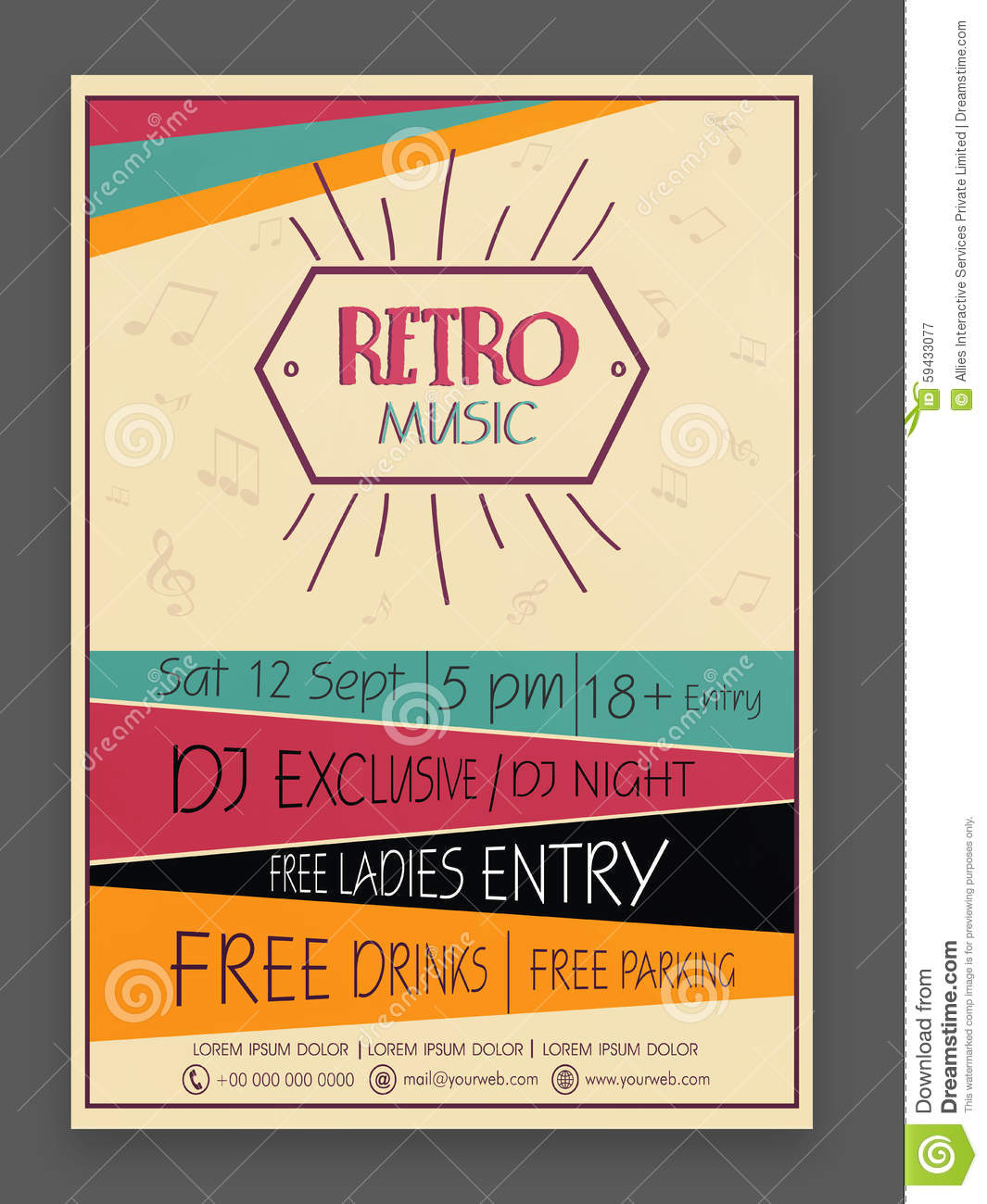 Retro Music Party Celebration Flyer Or Template Stock