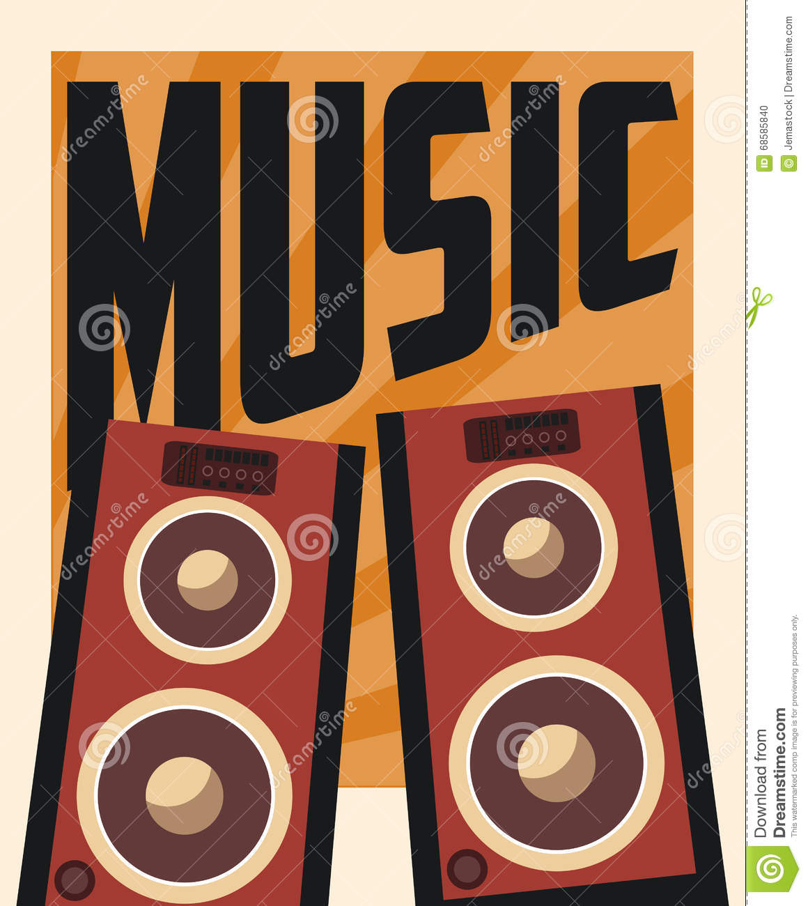 Poster design vector download - Retro Music Poster Design Vector Illustration Stock Vector