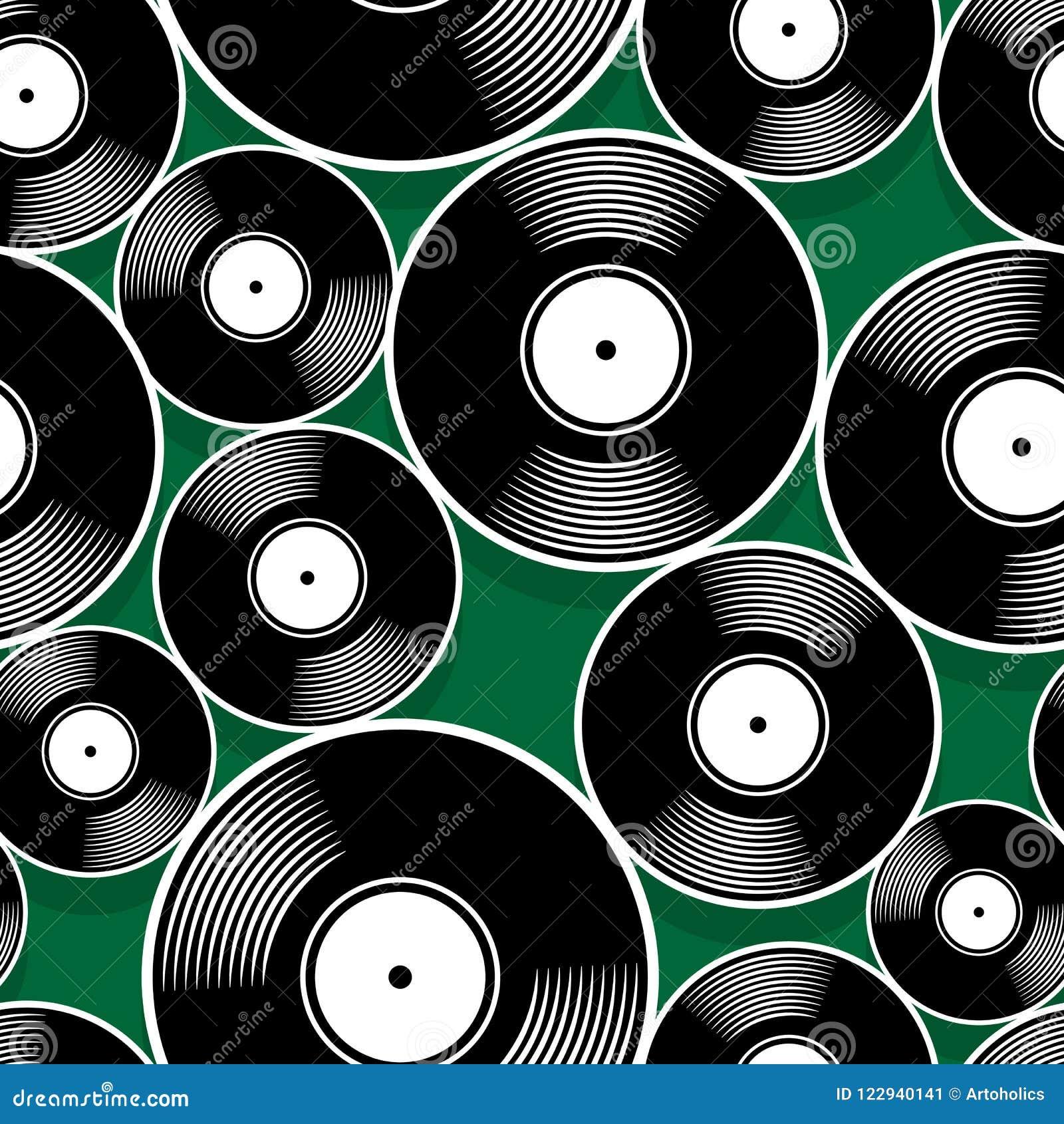 Seamless Digital Pattern With Retro Vintage Vinyl Record Vector