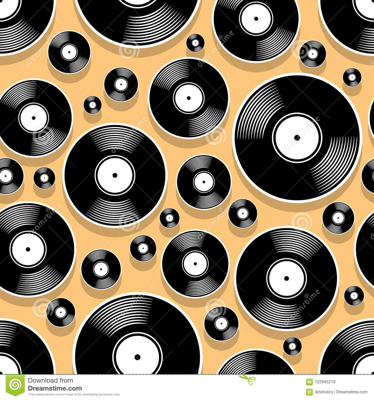 Seamless Digital Pattern With Retro Vintage Vinyl Record
