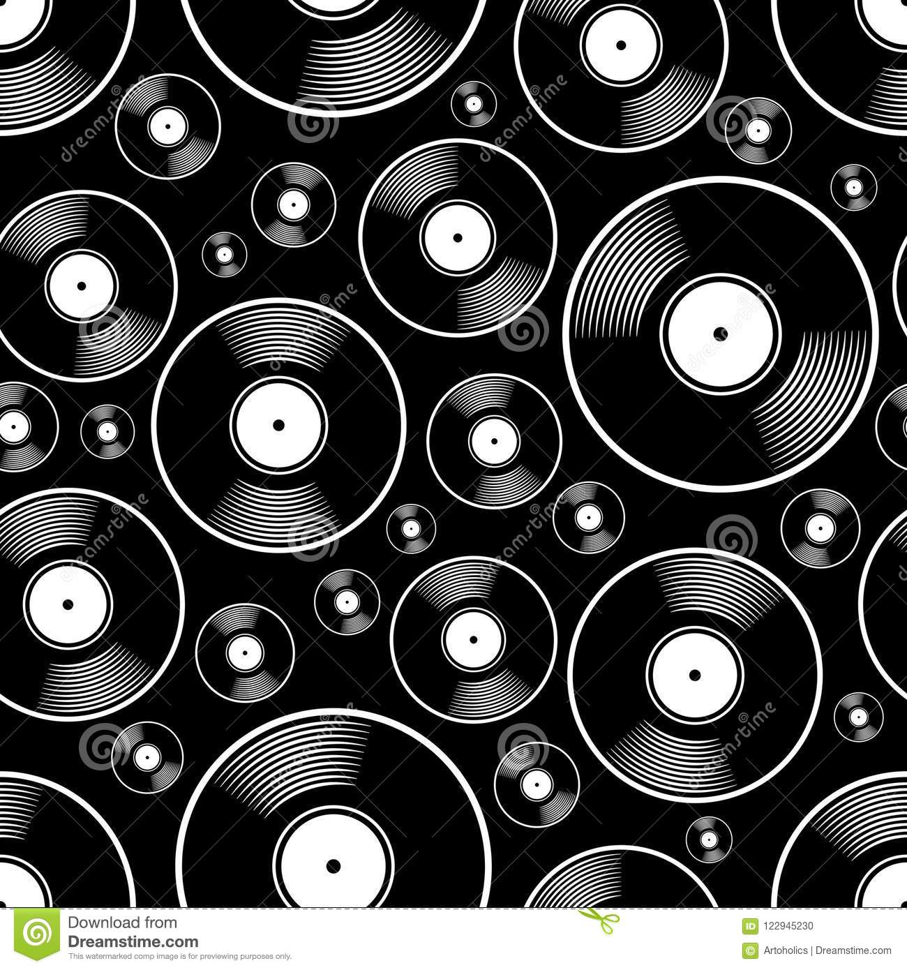 Seamless Digital Pattern With Retro Vintage Vinyl Record Vector