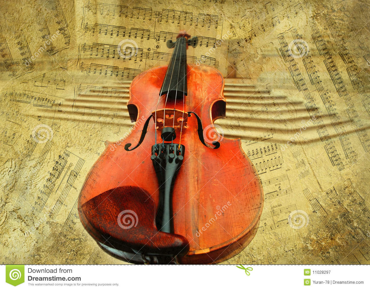 Retro Musical Grunge Violin Background Royalty Free Stock ...